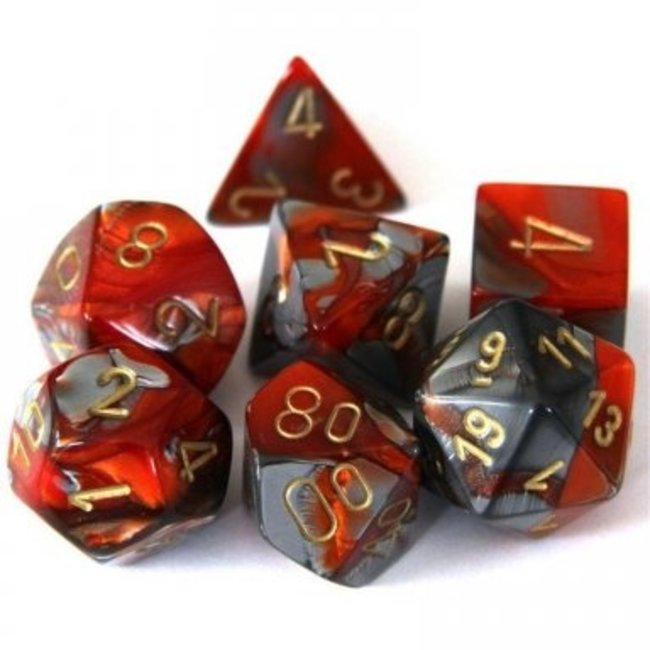 Gemini Polyhedral 7-Die Sets - Orange-Steel/gold