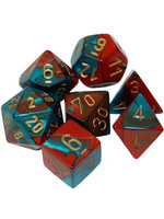 Gemini Polyhedral 7-Die Sets - Red-Teal with gold