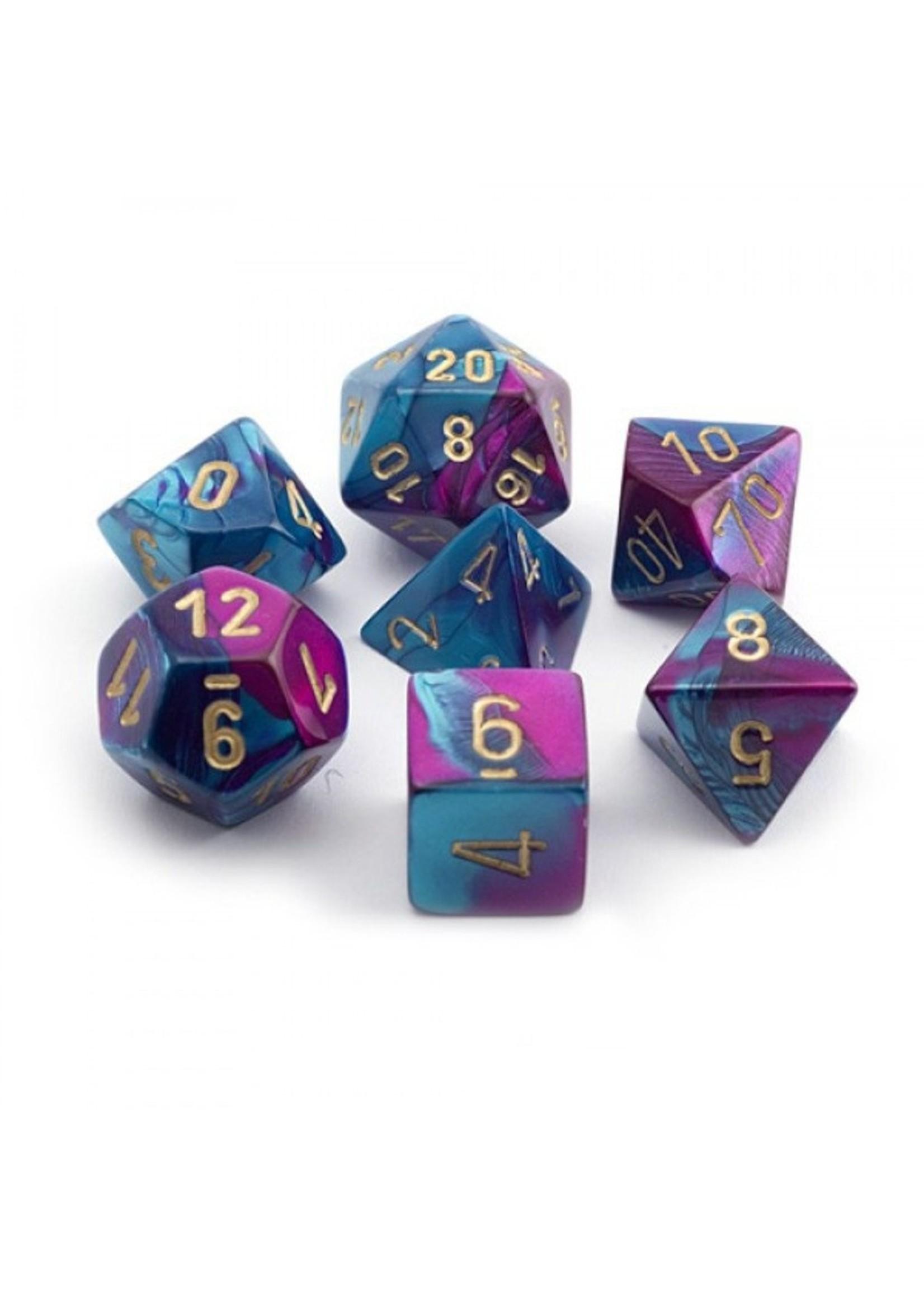Gemini Polyhedral 7-Die Sets - Blue-Purple w/gold