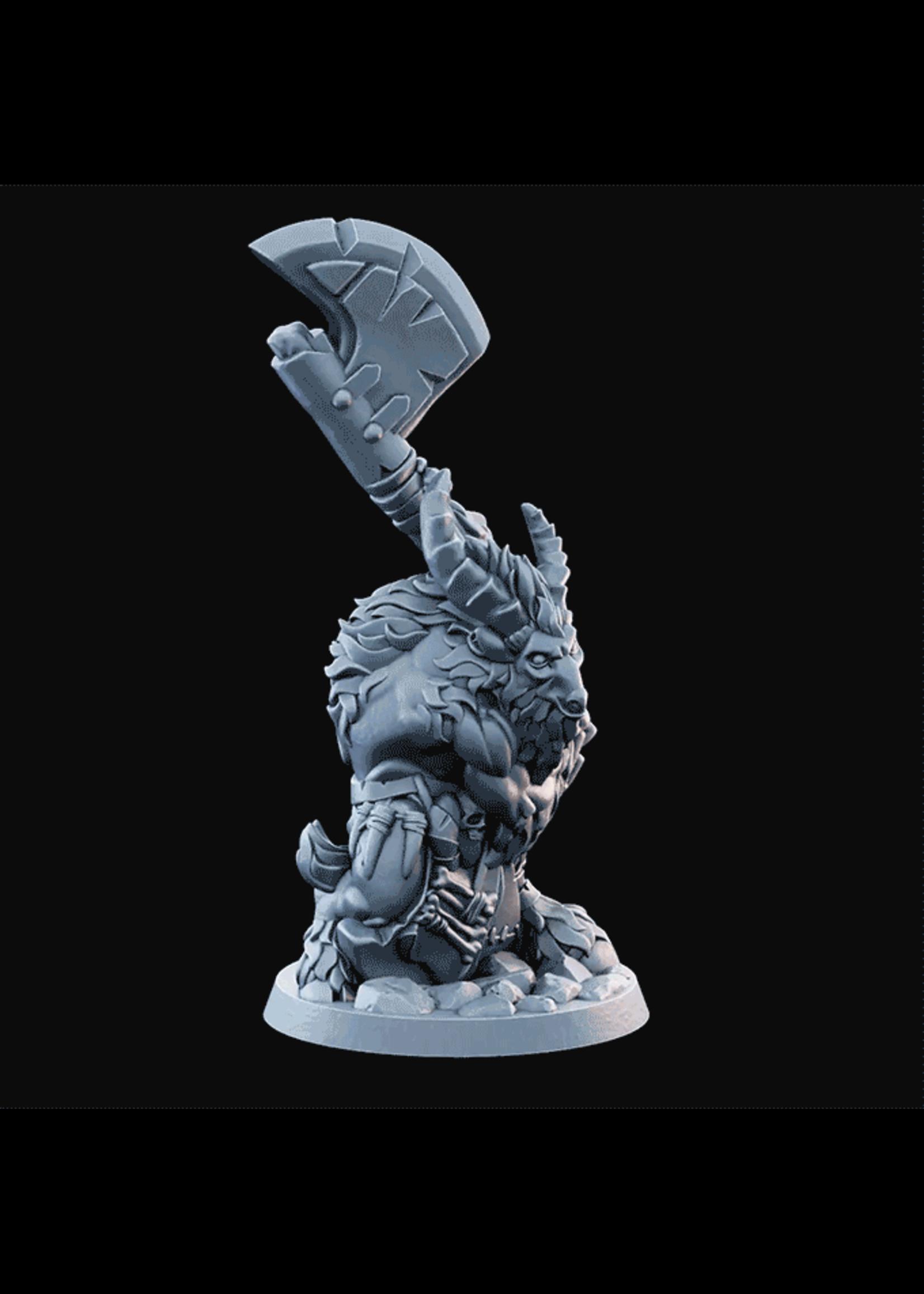 3D Printed Miniature - Goatman02  - Dungeons & Dragons - Desolate Plains KS