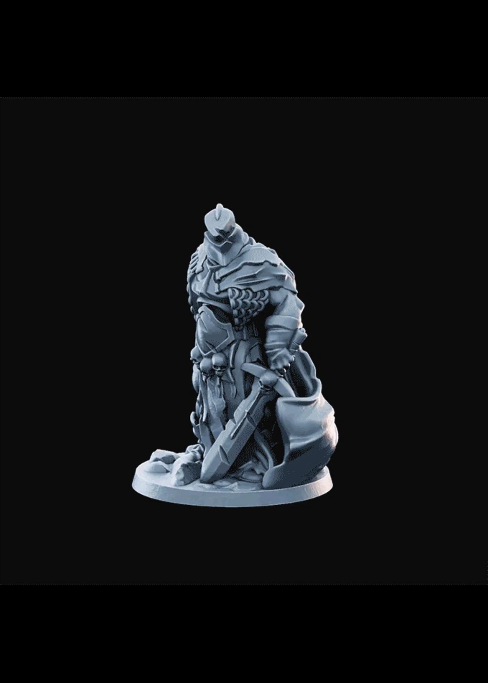 3D Printed Miniature - Fallen Knight  - Dungeons & Dragons - Desolate Plains KS