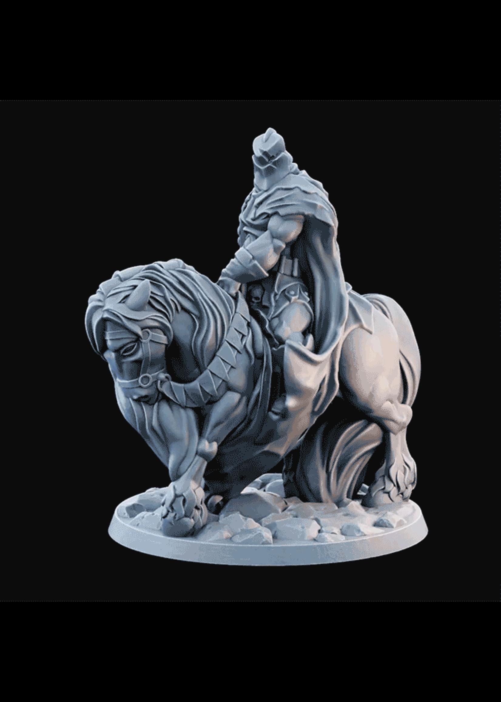 3D Printed Miniature - Fallen Knight Mounted 02  - Dungeons & Dragons - Desolate Plains KS
