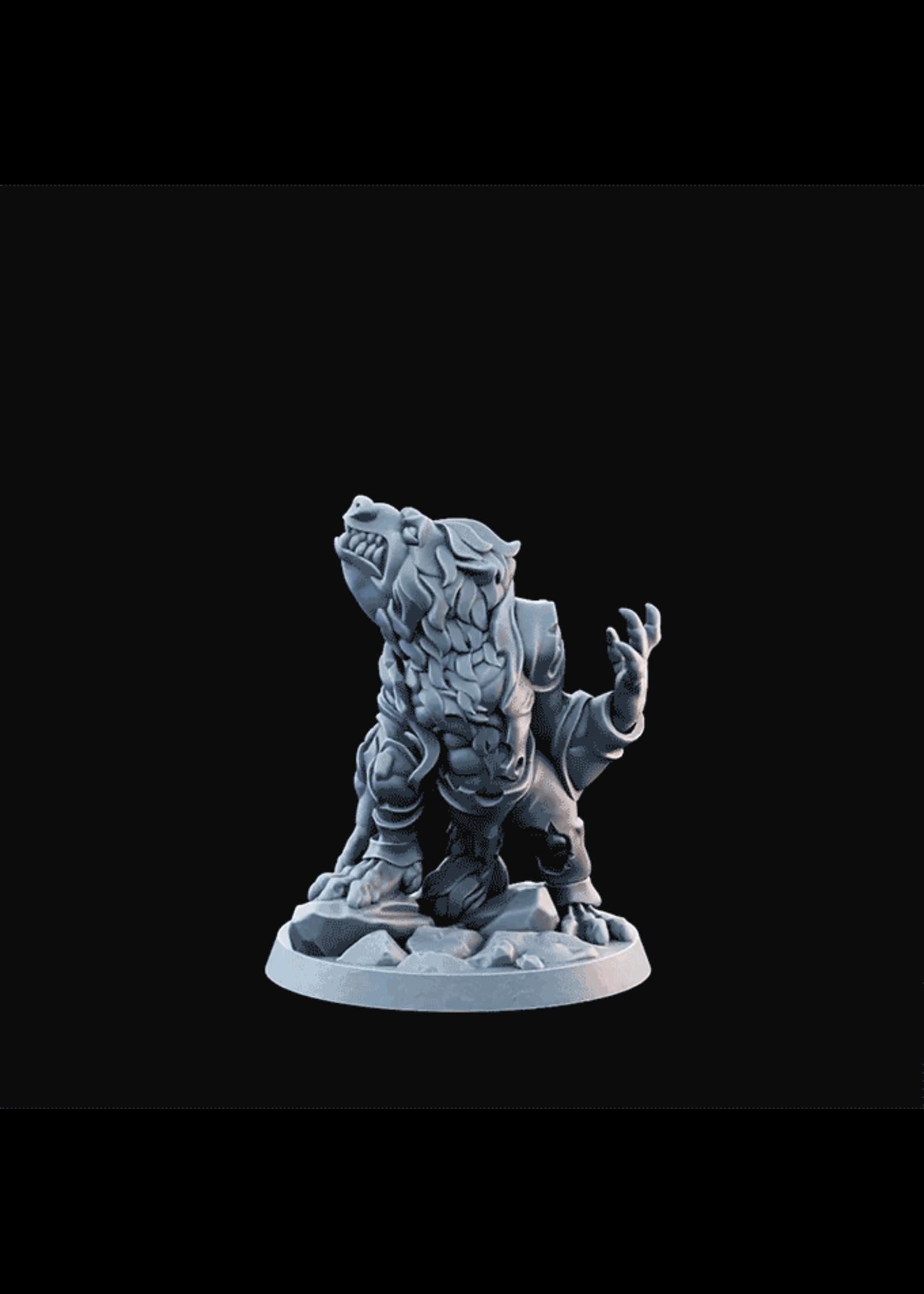 3D Printed Miniature - Wolfman03 Arms Low  - Dungeons & Dragons - Desolate Plains KS