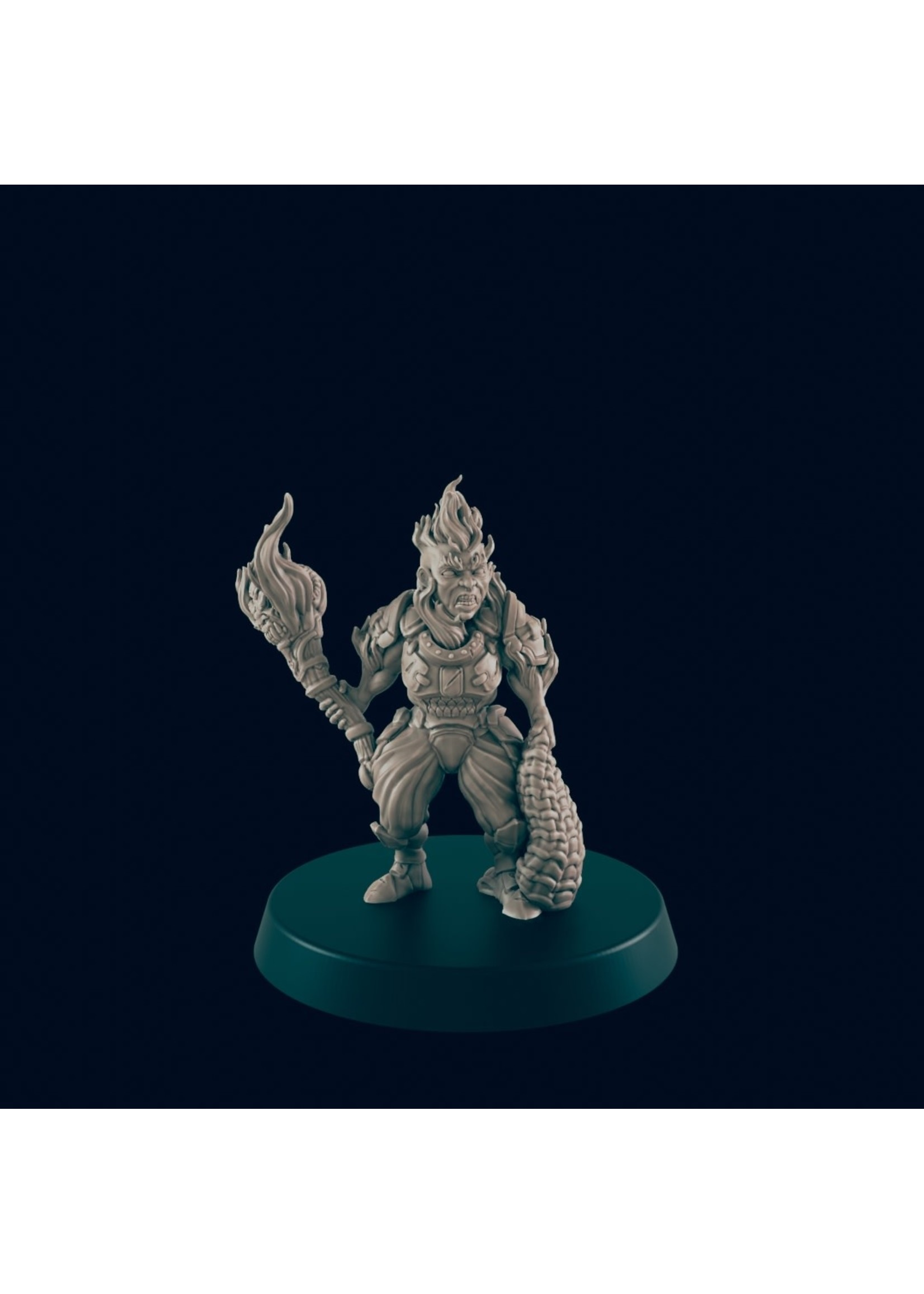 3D Printed Miniature - Azer Female - Dungeons & Dragons - Beasts and Baddies KS