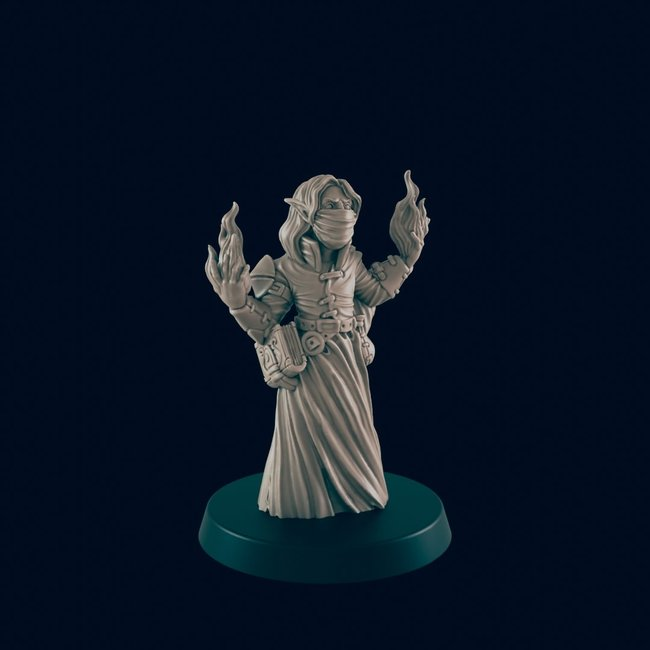 3D Printed Miniature - Elven Mage Bandit - Dungeons & Dragons - Beasts and Baddies KS
