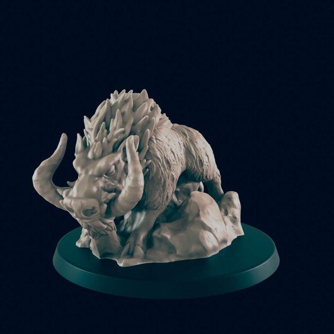 3D Printed Miniature - Dire Boar - Dungeons & Dragons - Beasts and Baddies KS
