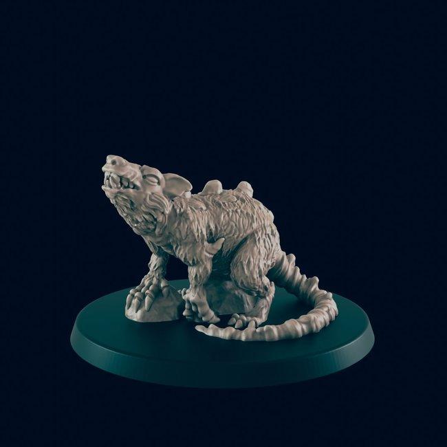 3D Printed Miniature - Giant Rat - Dungeons & Dragons - Beasts and Baddies KS