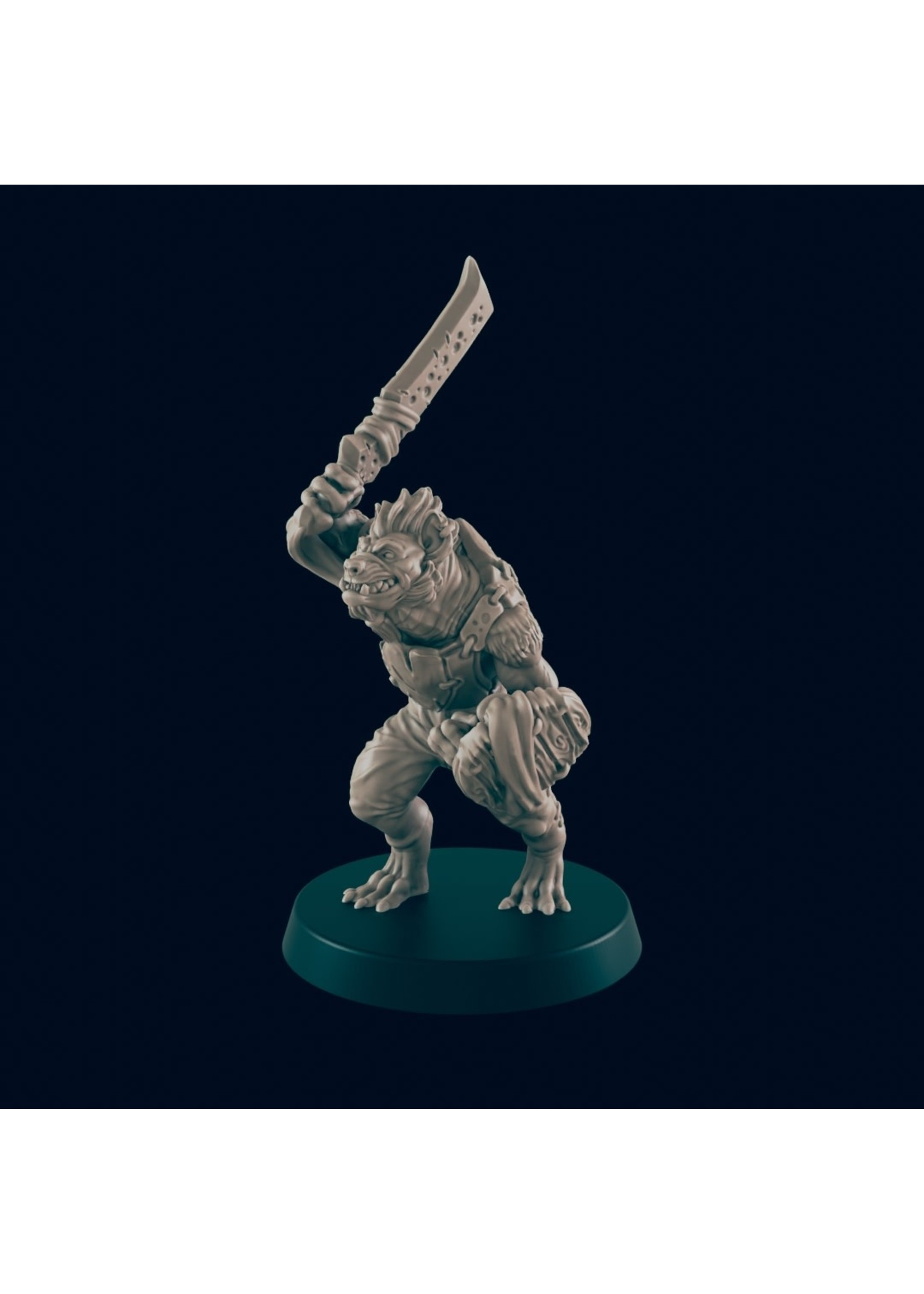 3D Printed Miniature - Gnoll Warrior - Dungeons & Dragons - Beasts and Baddies KS
