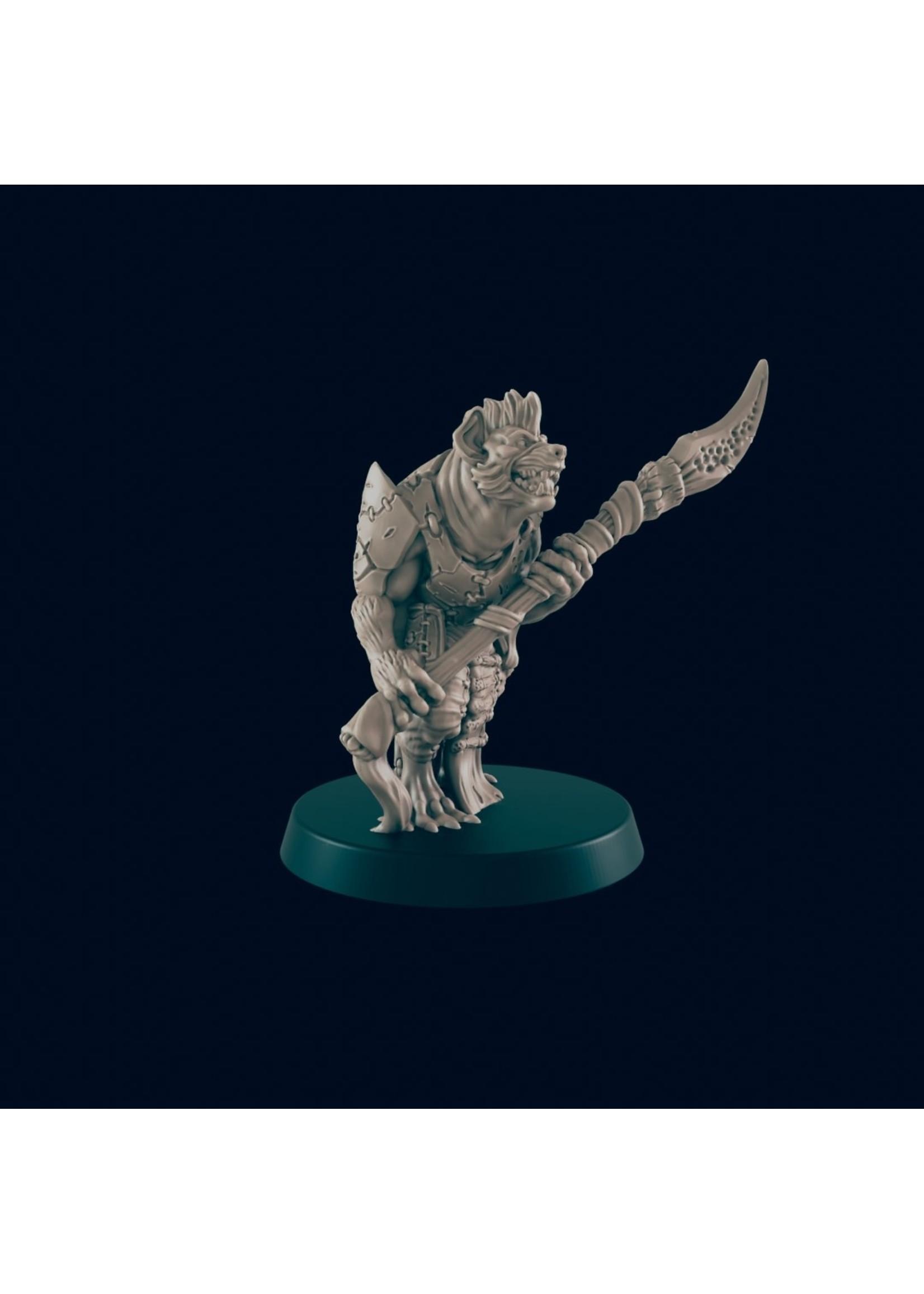 3D Printed Miniature - Gnoll Spearman - Dungeons & Dragons - Beasts and Baddies KS