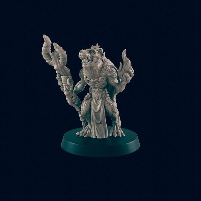 3D Printed Miniature - Gnoll Shaman - Dungeons & Dragons - Beasts and Baddies KS