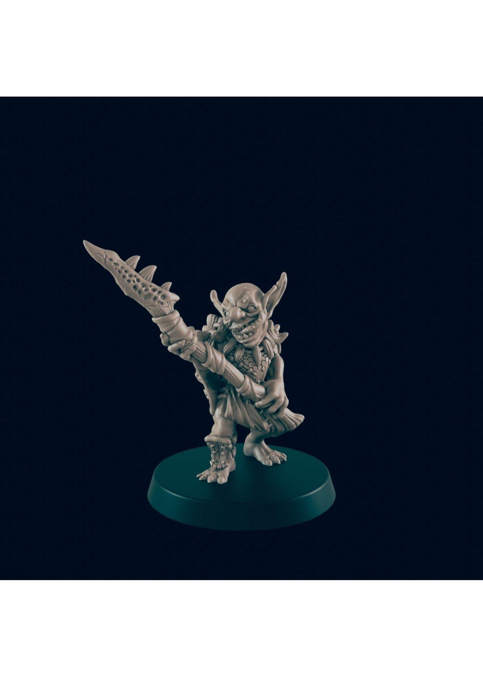 3D Printed Miniature - Goblin Spearman - Dungeons & Dragons - Beasts and Baddies KS