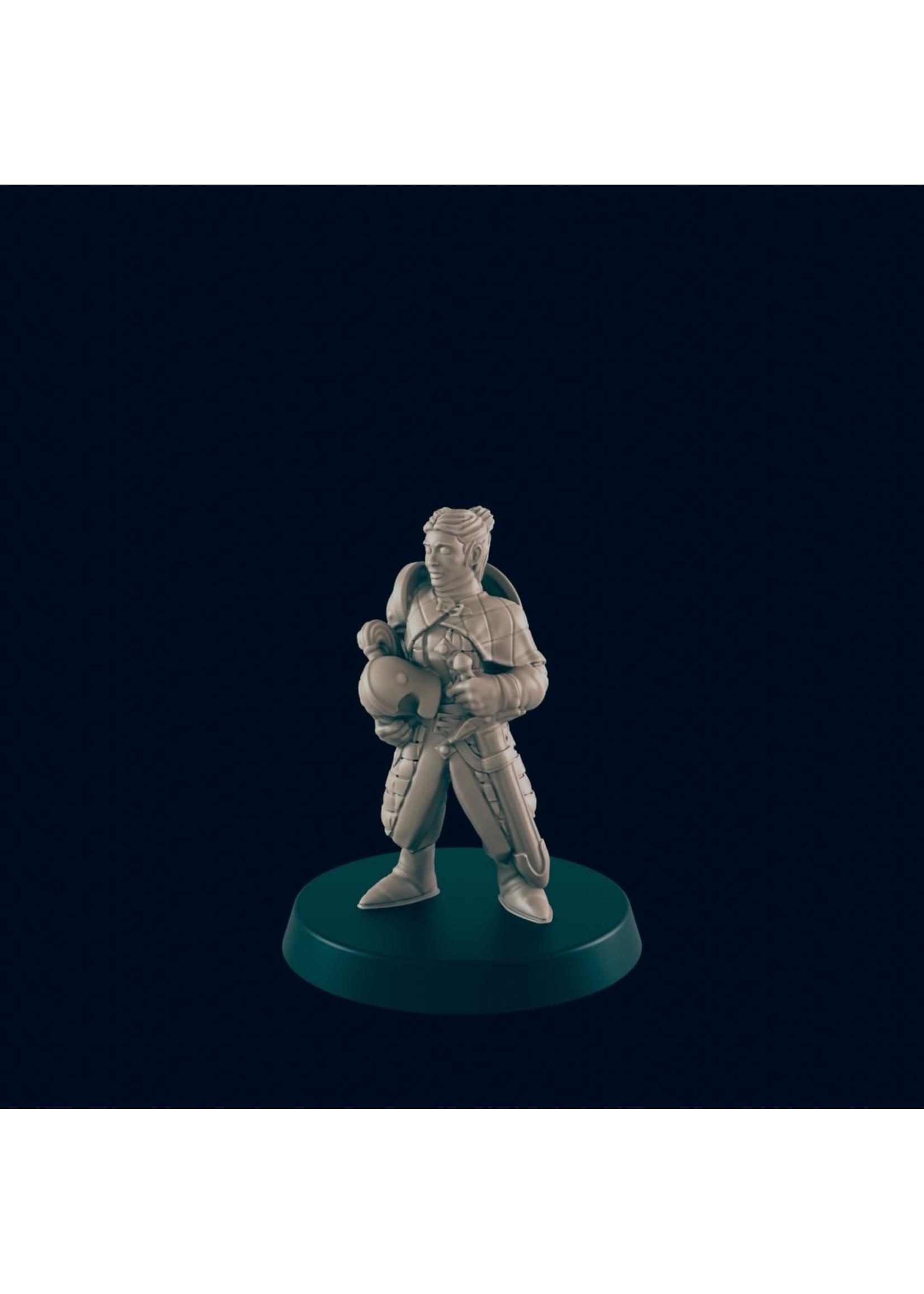 3D Printed Miniature - Guard Female - Dungeons & Dragons - Beasts and Baddies KS