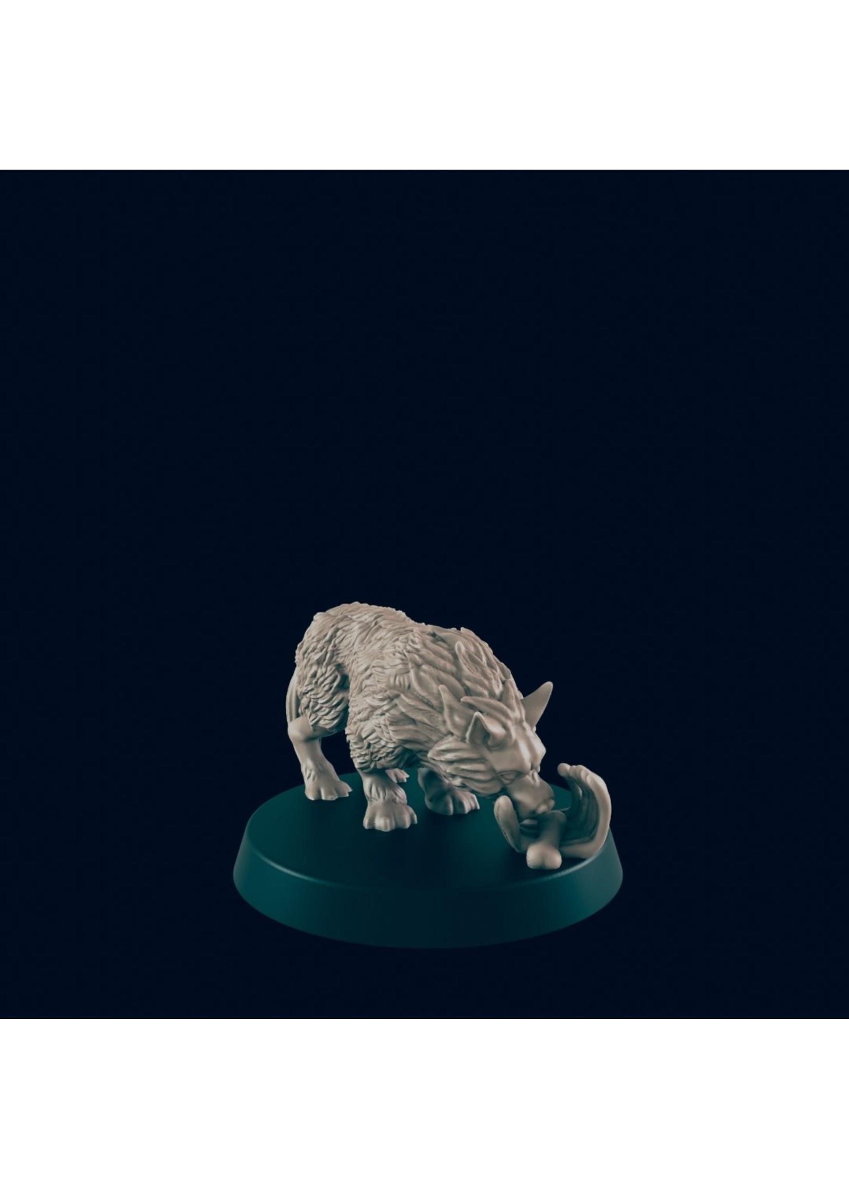 3D Printed Miniature - Wolf 3 - Dungeons & Dragons - Beasts and Baddies KS