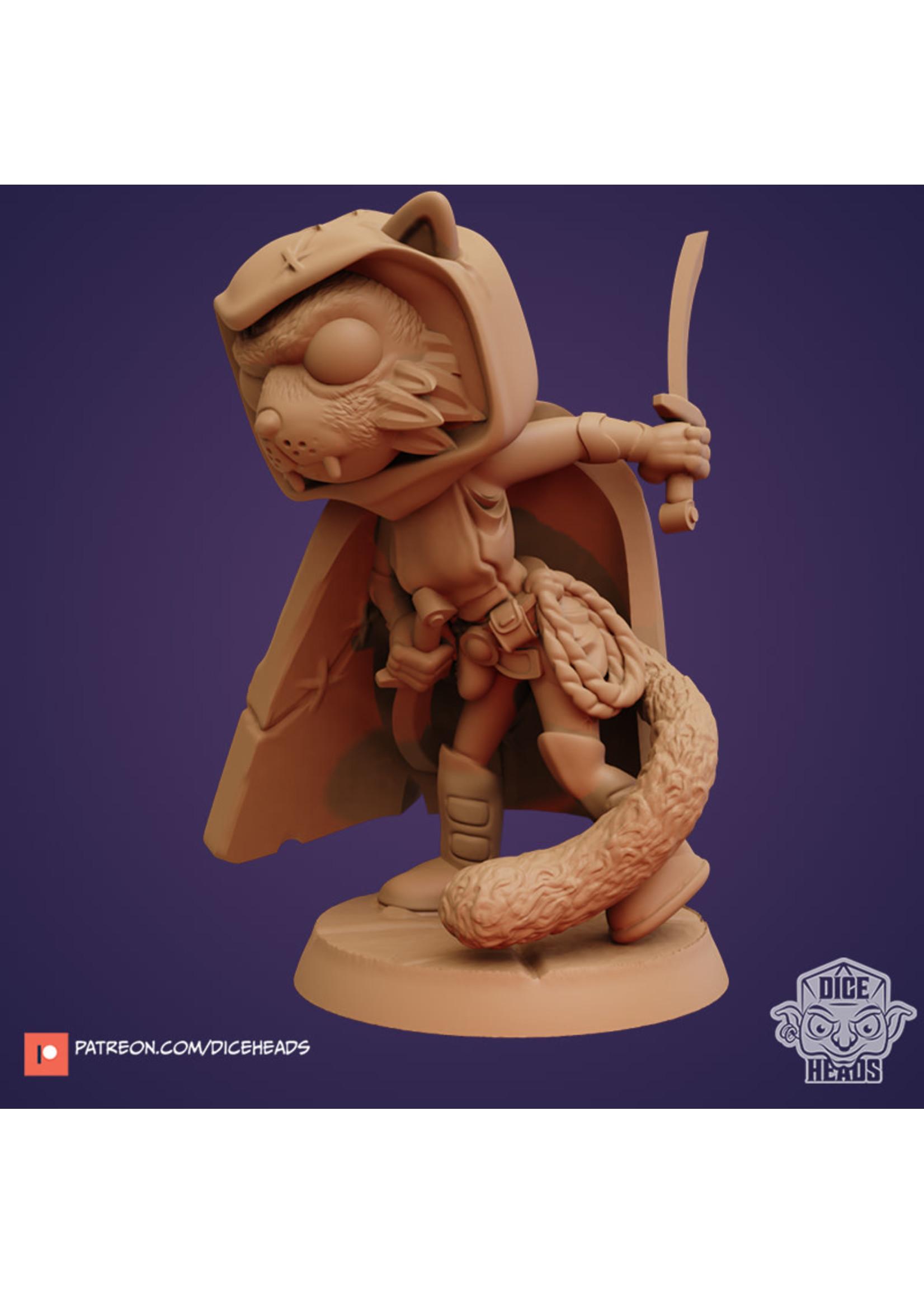 3D Printed Miniature - Cat Rogue - Dungeons & Dragons - Zoontalis KS