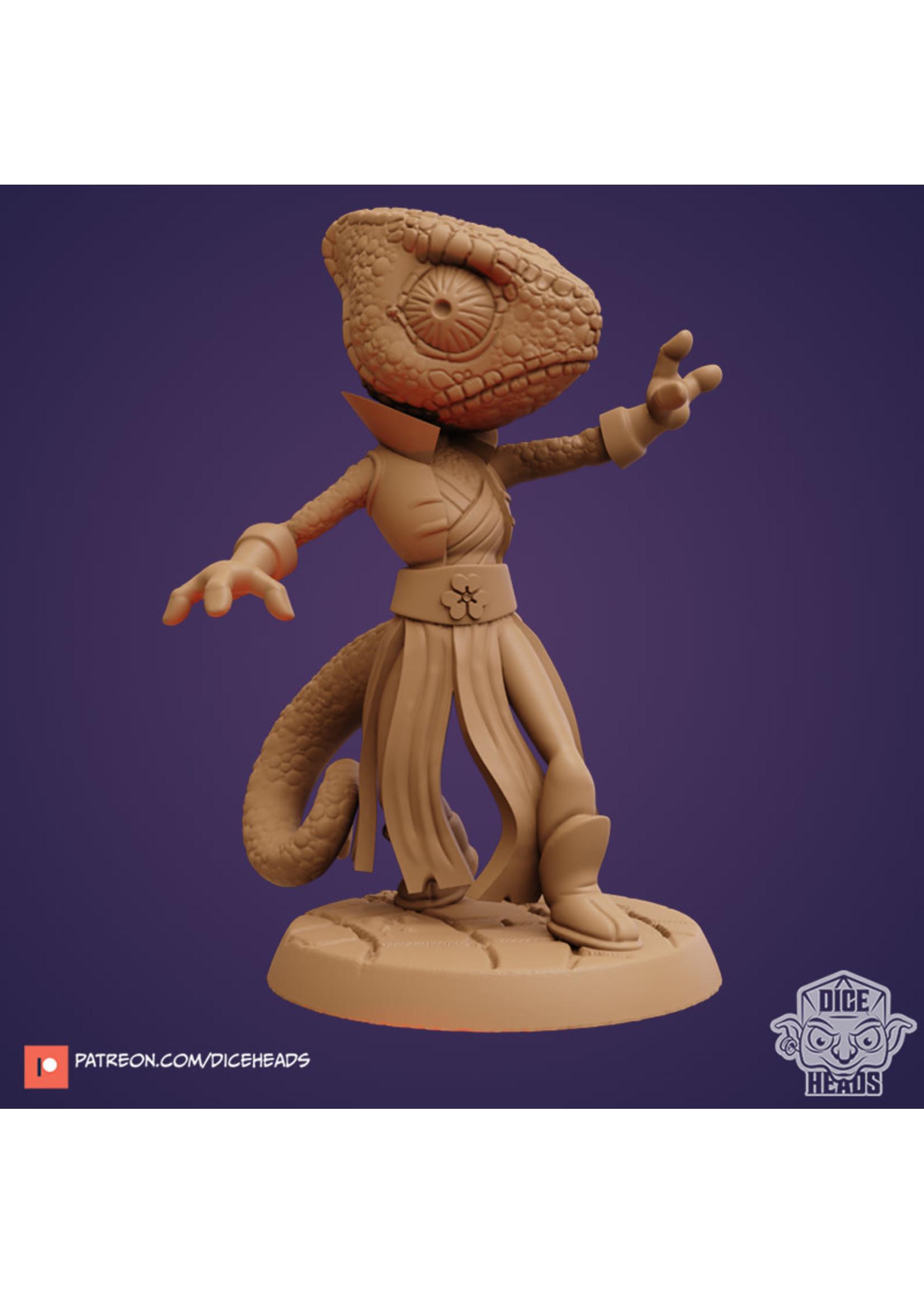 3D Printed Miniature - Chameleon Sorcerer - Dungeons & Dragons - Zoontalis KS
