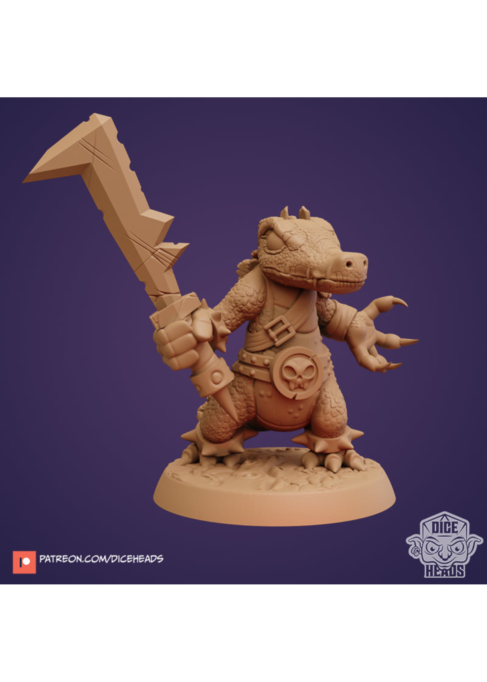 3D Printed Miniature - Croc Fighter - Dungeons & Dragons - Zoontalis KS