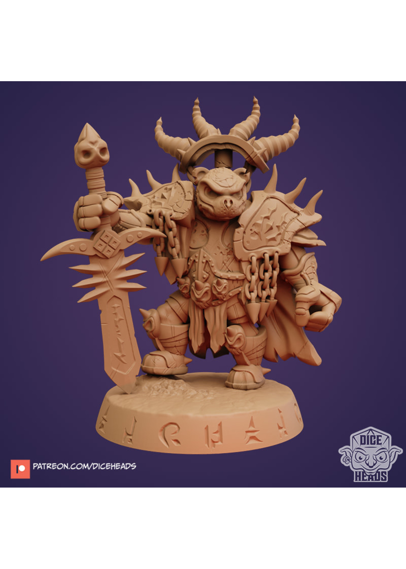 3D Printed Miniature - Death Knight Bear - Dungeons & Dragons - Zoontalis KS