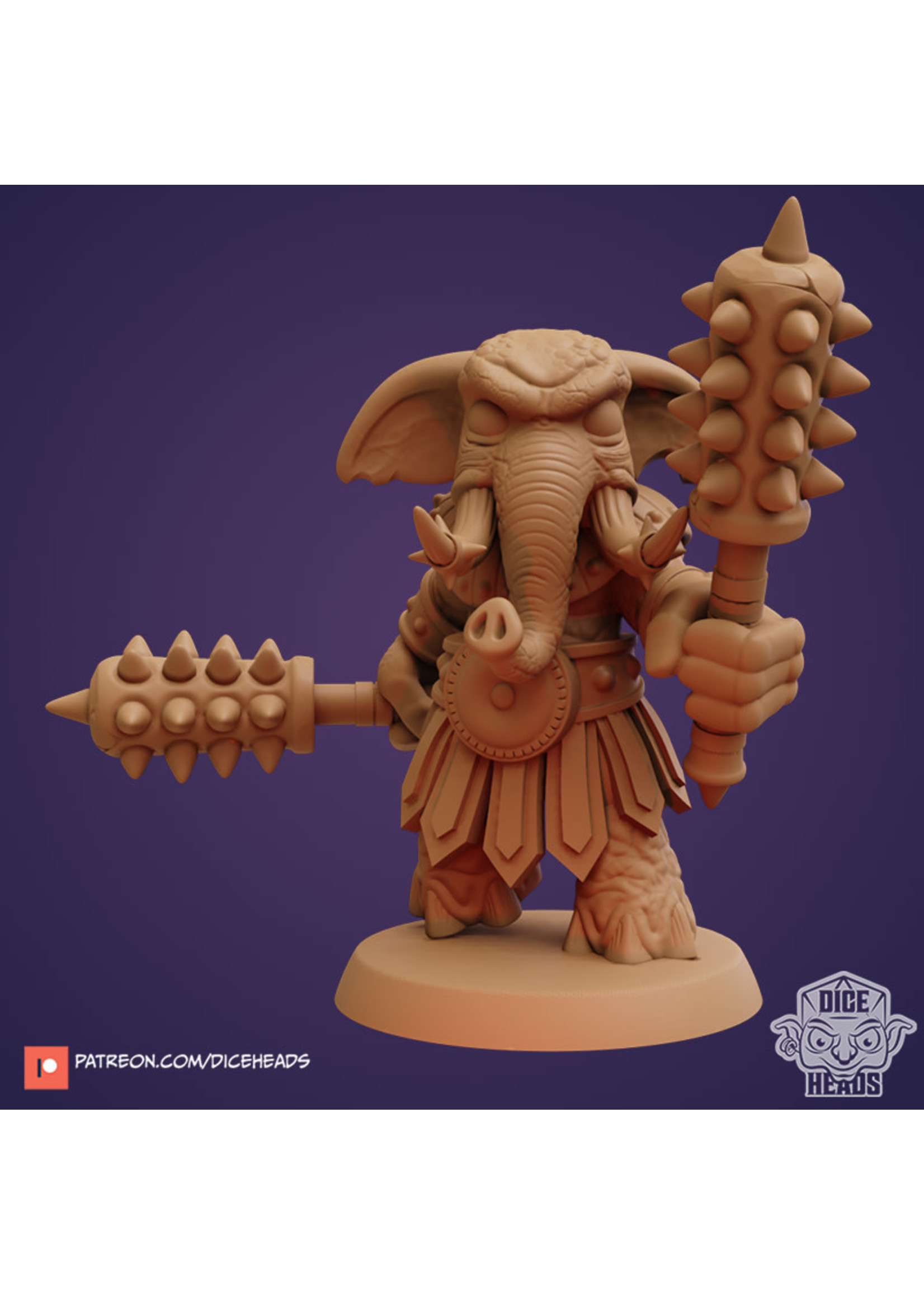 3D Printed Miniature - Elephant Fighter - Dungeons & Dragons - Zoontalis KS