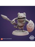 3D Printed Miniature - Frog Folk-Shield - Dungeons & Dragons - Zoontalis KS