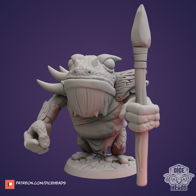 3D Printed Miniature - Toad Warrior One - Dungeons & Dragons - Zoontalis KS