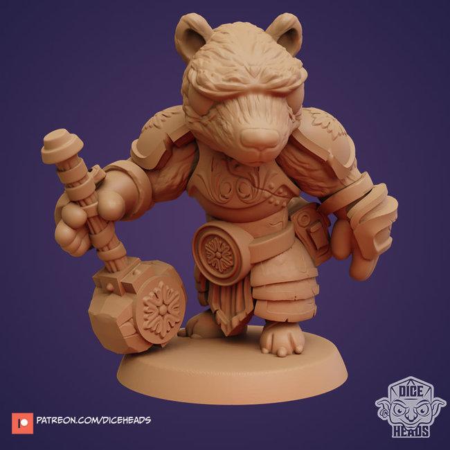 3D Printed Miniature - Badger Cleric - Dungeons & Dragons - Zoontalis KS