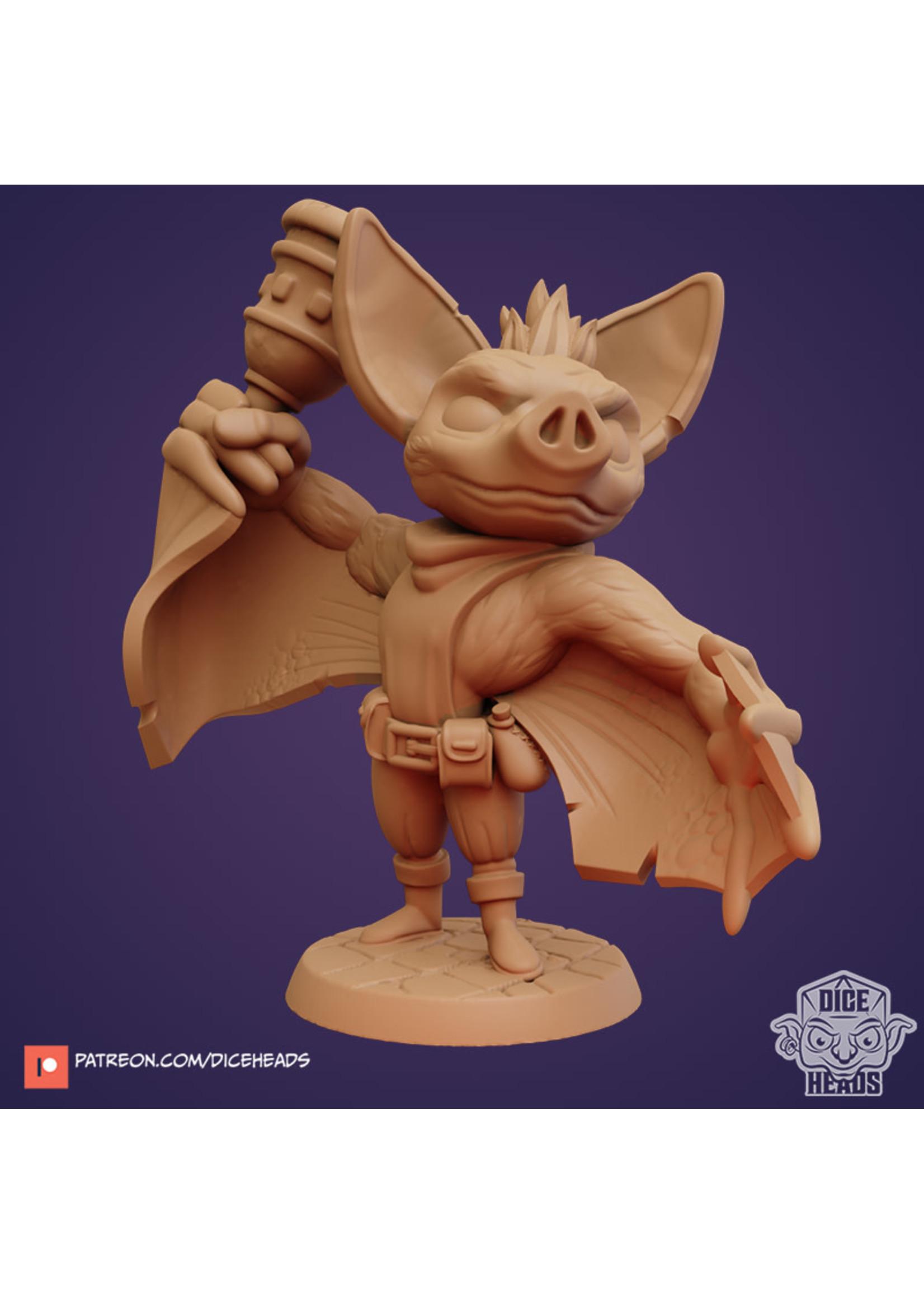 3D Printed Miniature - Bat Cleric - Dungeons & Dragons - Zoontalis KS