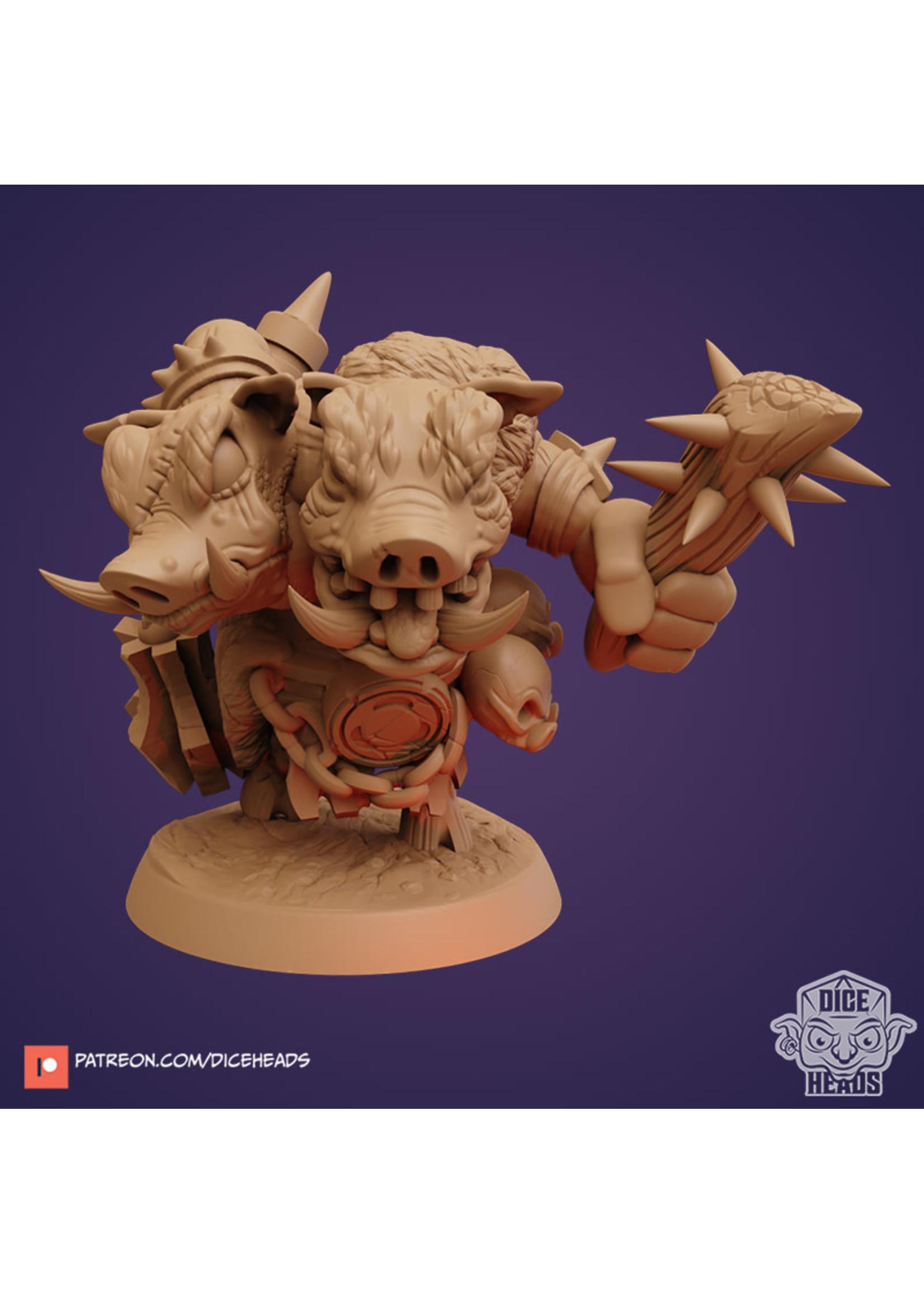 3D Printed Miniature - Hog Ettin - Dungeons & Dragons - Zoontalis KS