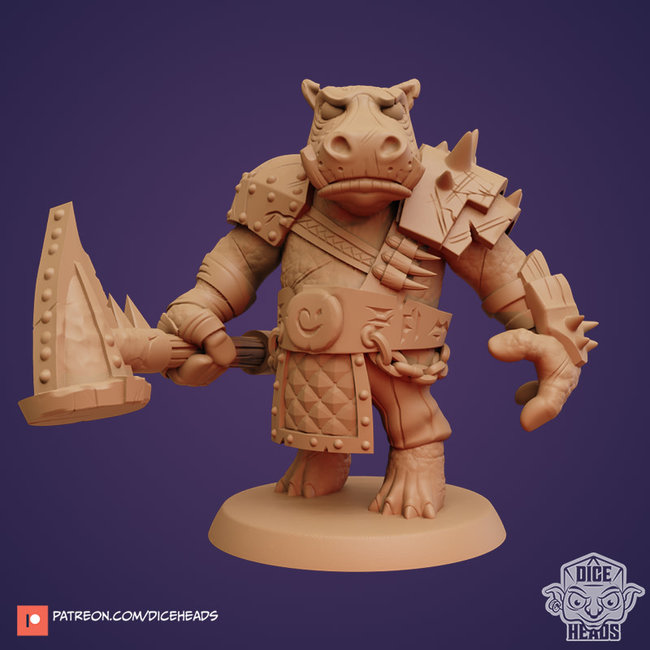 3D Printed Miniature - Hippo Fighter - Dungeons & Dragons - Zoontalis KS