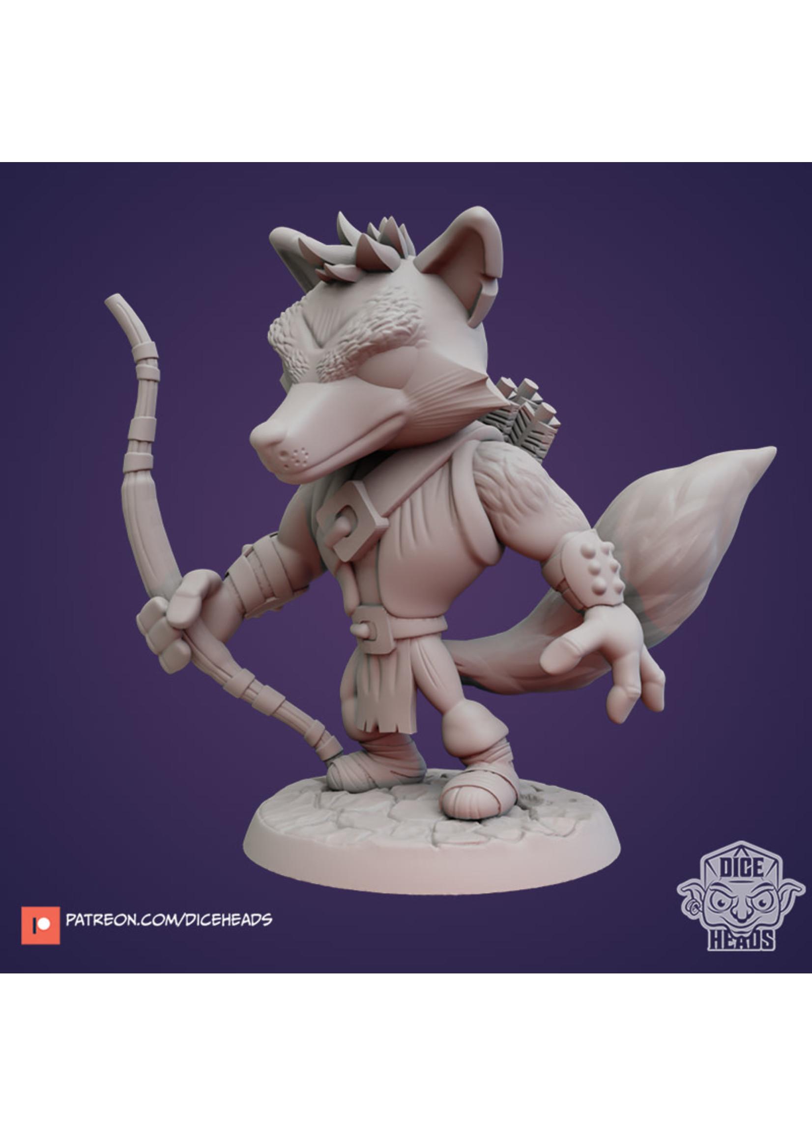 3D Printed Miniature - Kitsune Bandit - Dungeons & Dragons - Zoontalis KS
