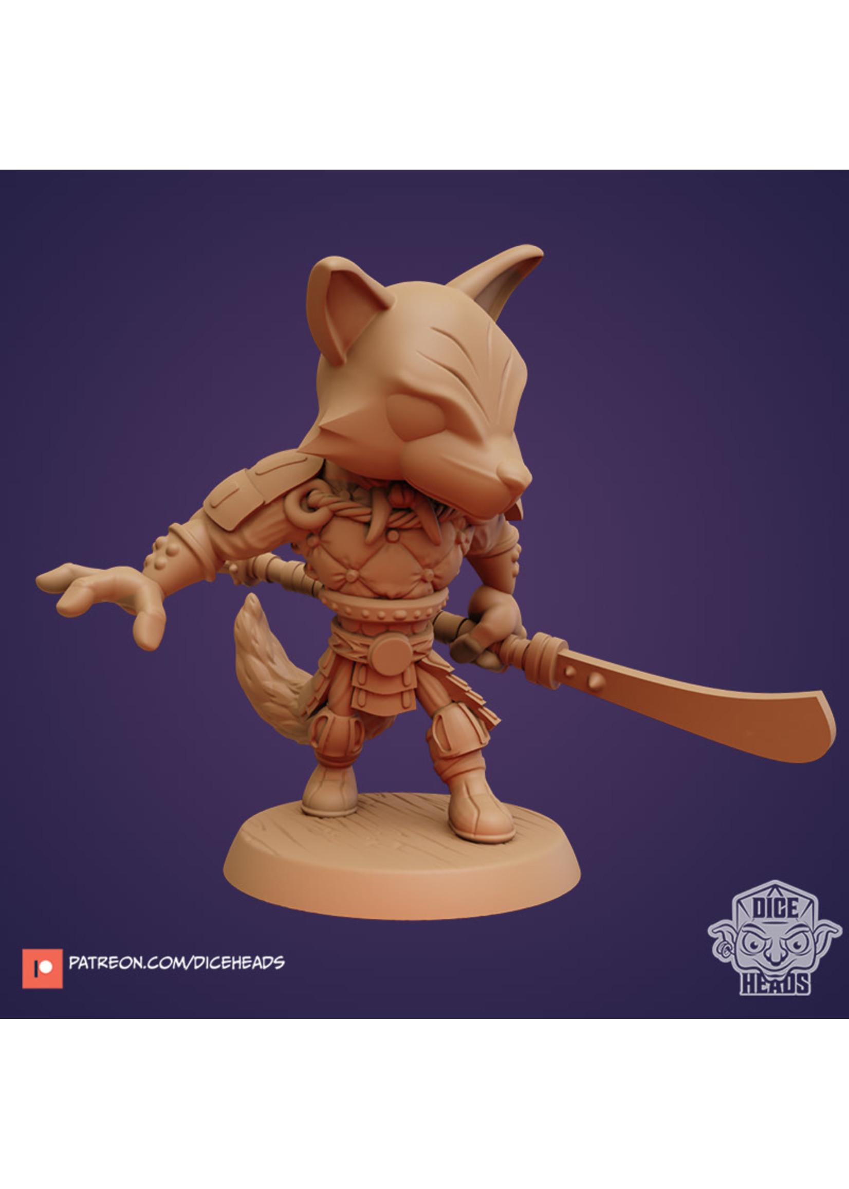 3D Printed Miniature - Fast Shadow (Kitsune-Fox Fighter) - Dungeons & Dragons - Zoontalis KS