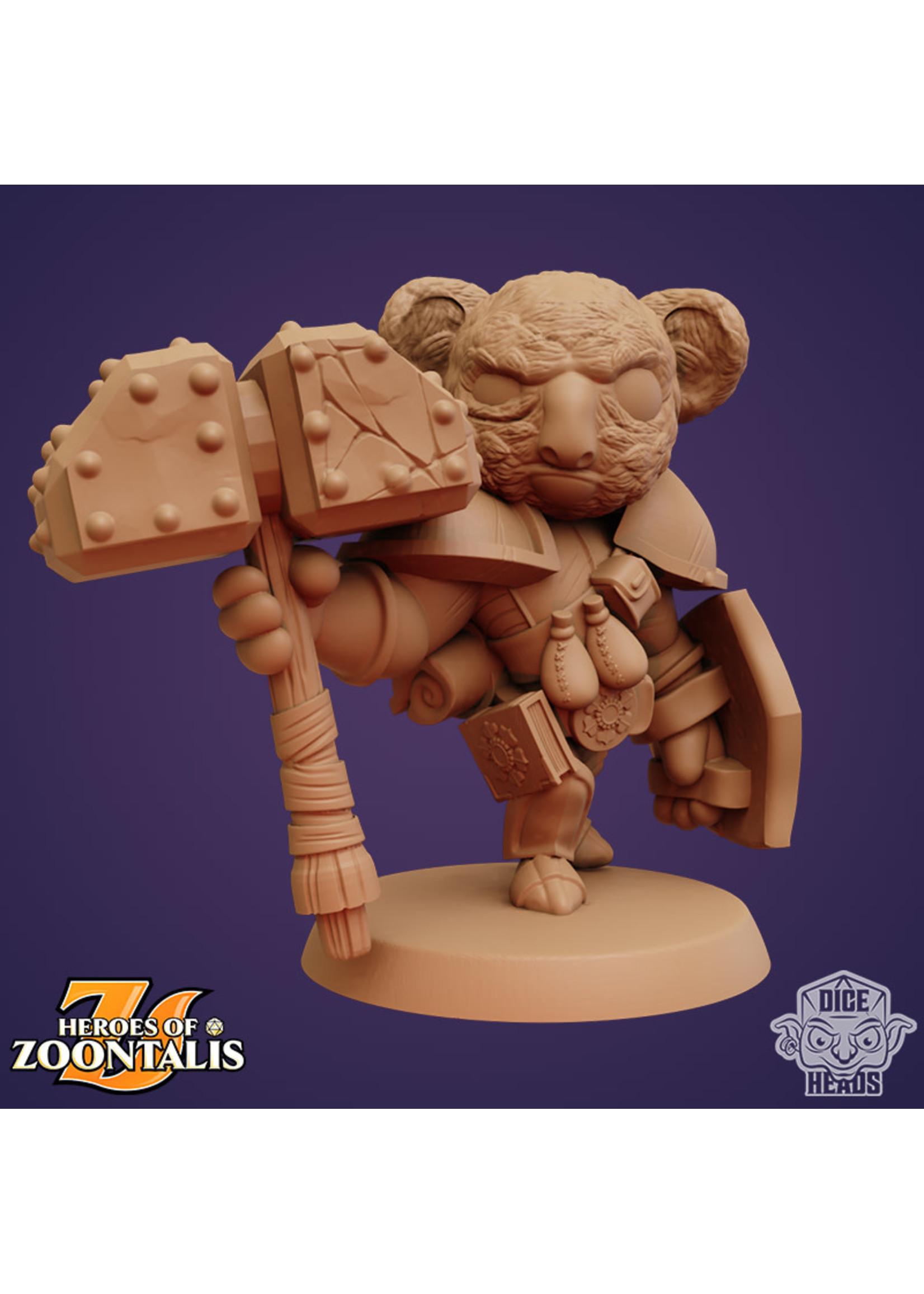 3D Printed Miniature - Koala-Cleric - Dungeons & Dragons - Zoontalis KS