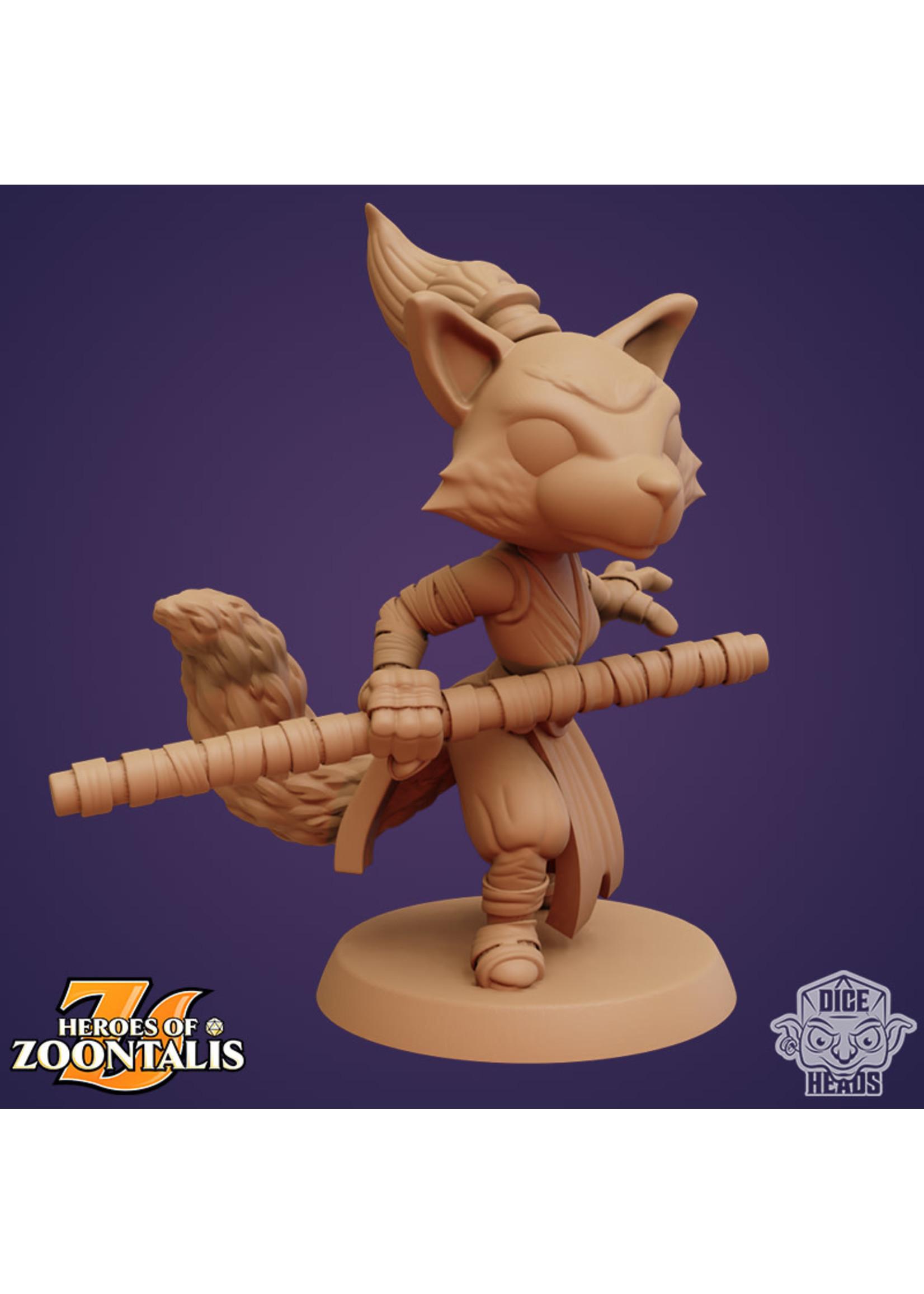 3D Printed Miniature - Kitsune Monk - Dungeons & Dragons - Zoontalis KS