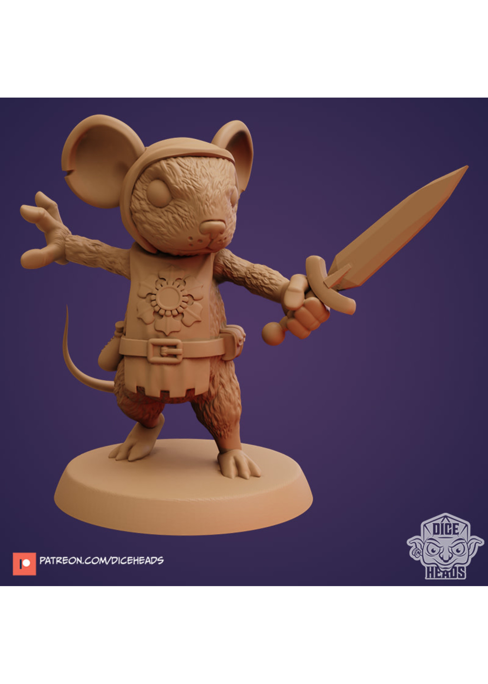 3D Printed Miniature - Mouse Fighter - Dungeons & Dragons - Zoontalis KS