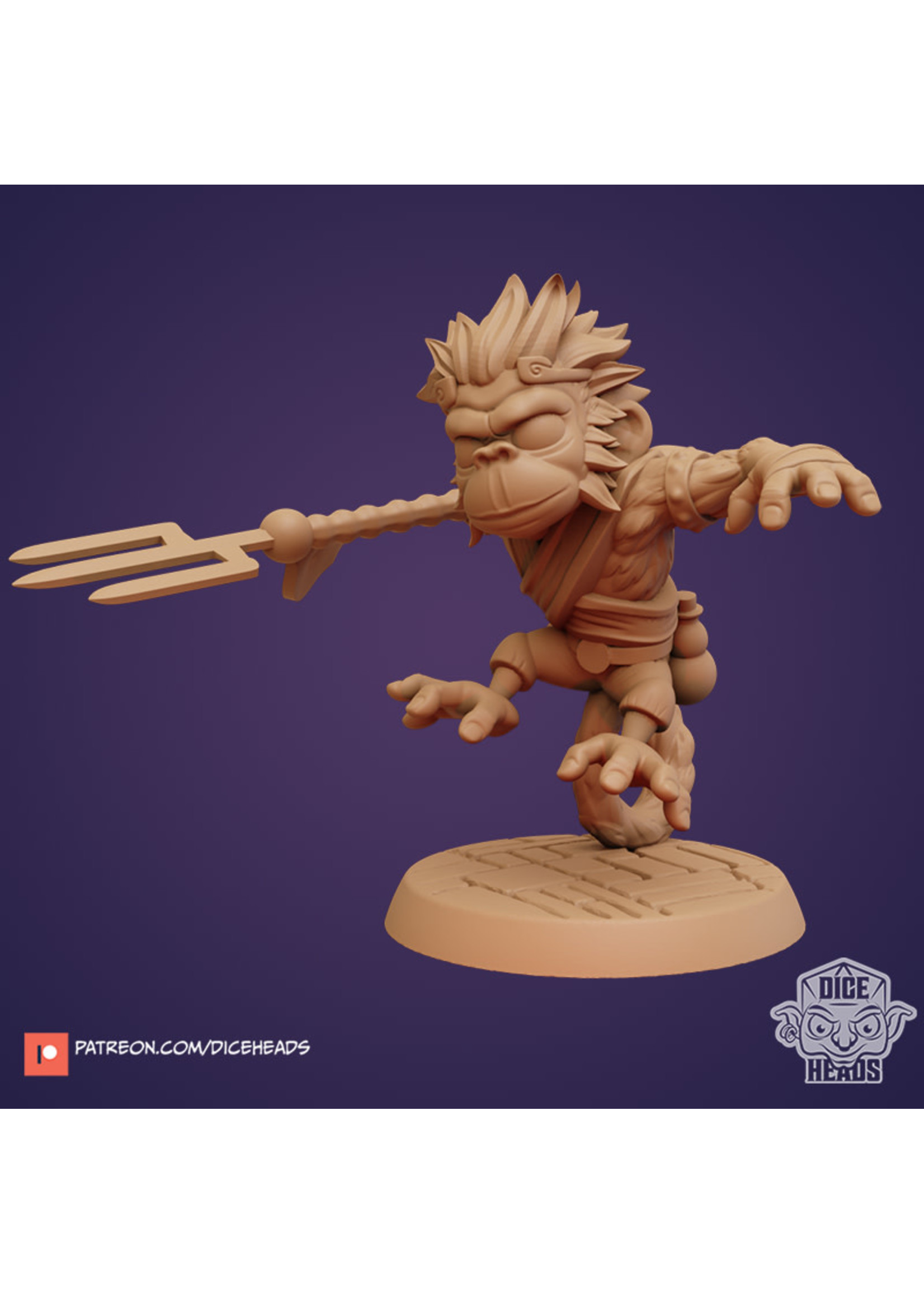 3D Printed Miniature - Monkey Monk - Dungeons & Dragons - Zoontalis KS