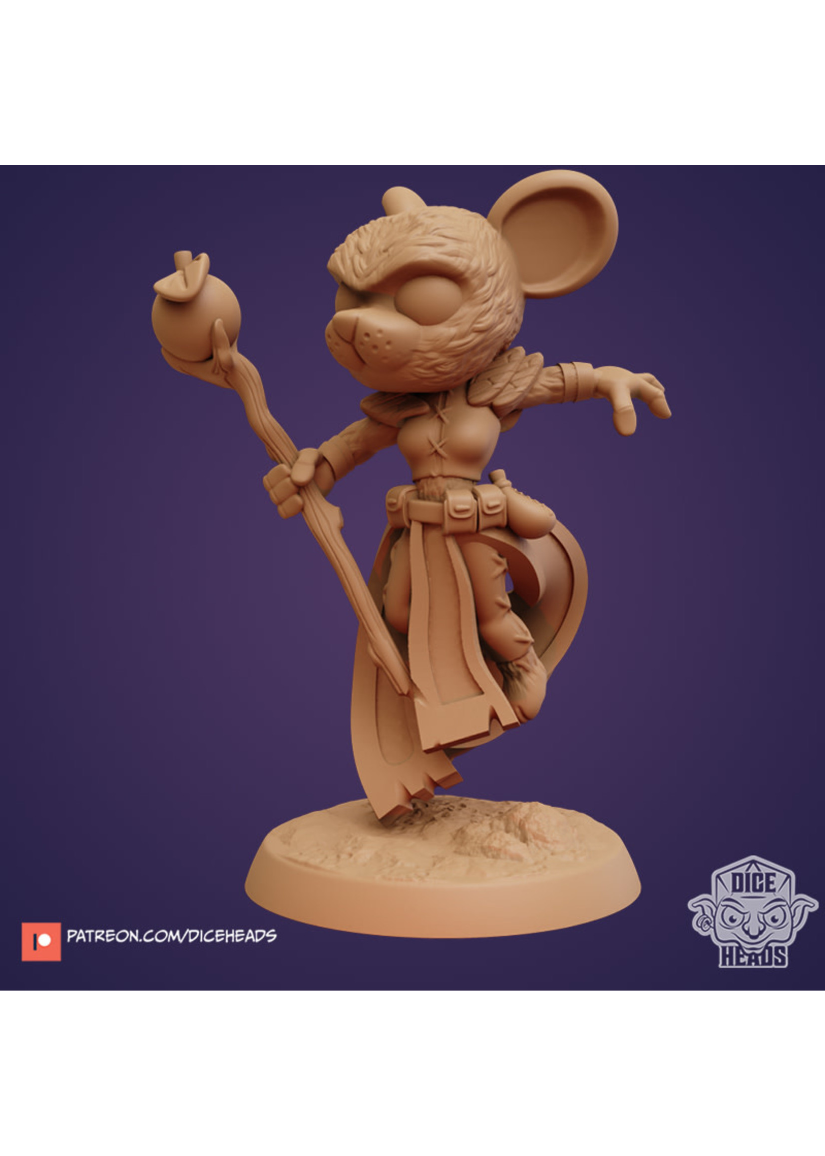 3D Printed Miniature - Mouse Druid - Dungeons & Dragons - Zoontalis KS