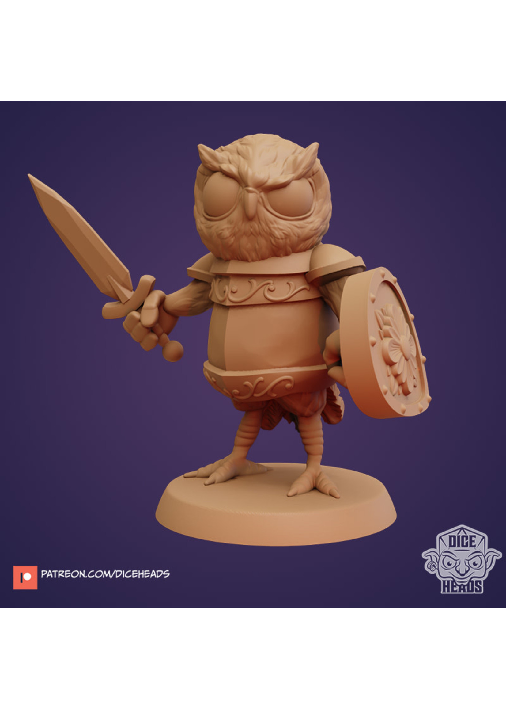 3D Printed Miniature - Owl Fighter - Dungeons & Dragons - Zoontalis KS