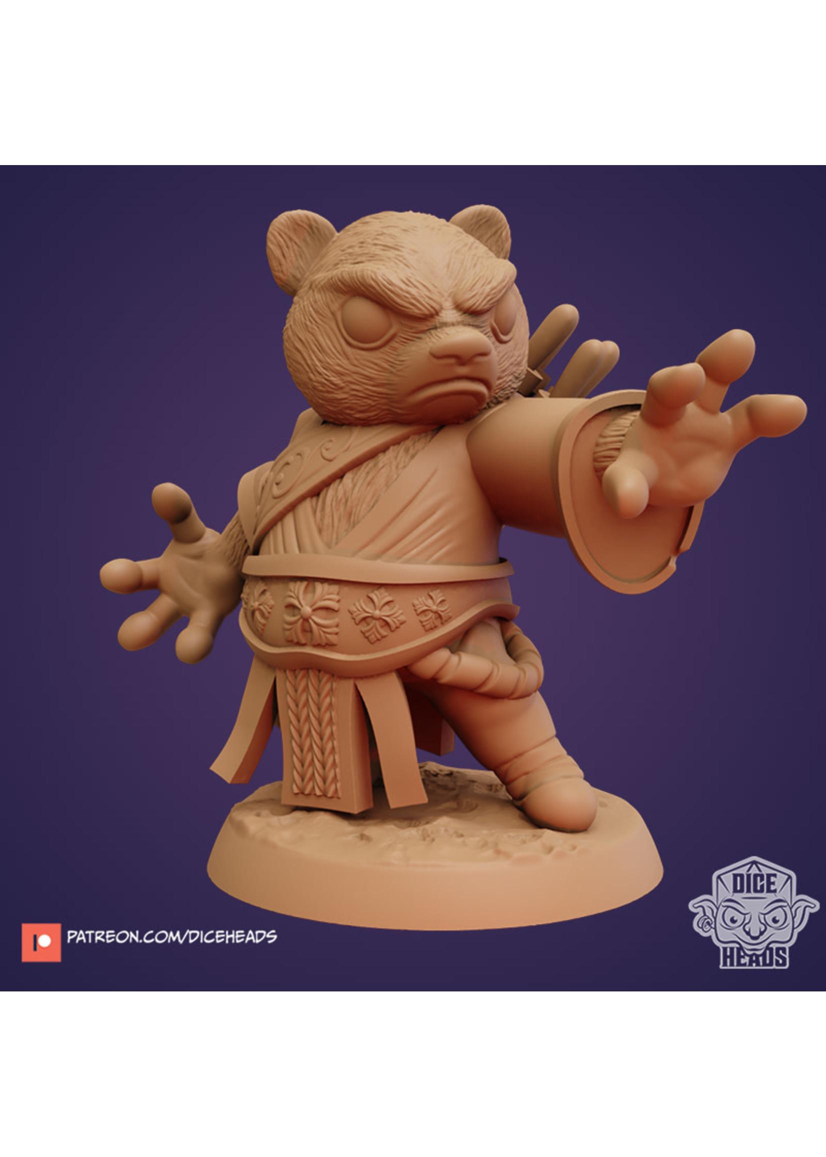 3D Printed Miniature - Panda Wizard - Dungeons & Dragons - Zoontalis KS