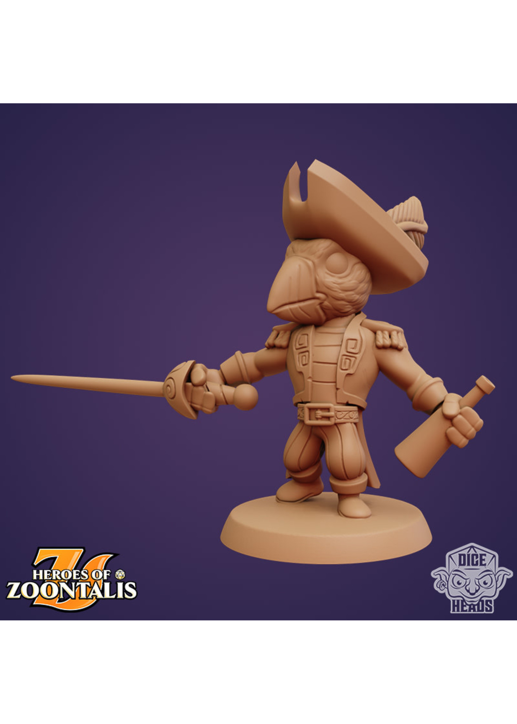 3D Printed Miniature - Puffin Swashbuckler - Dungeons & Dragons - Zoontalis KS