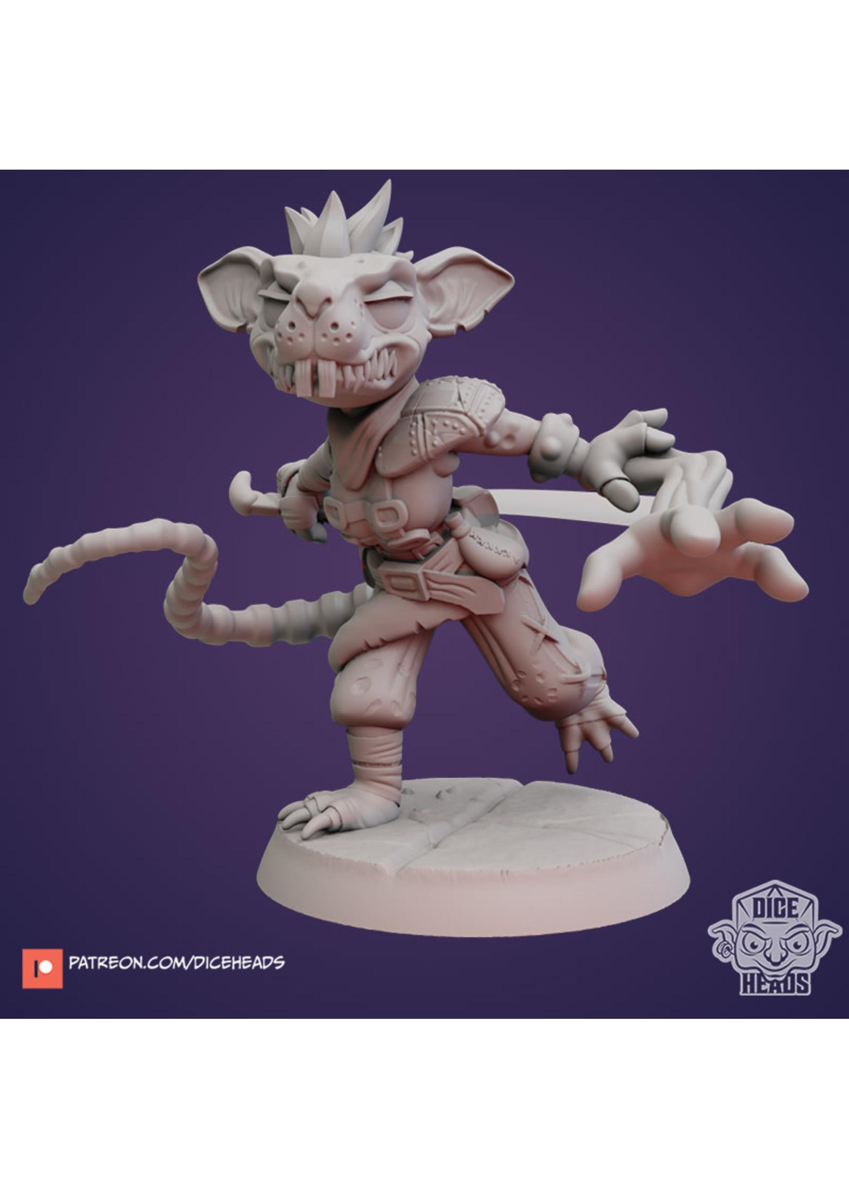 3D Printed Miniature - Ratfolk Arcane Trickster - Dungeons & Dragons - Zoontalis KS