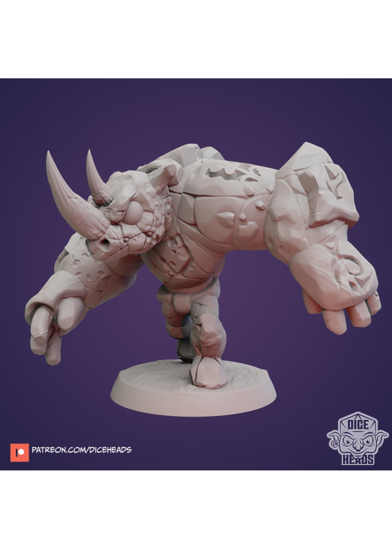 3D Printed Miniature - Rhino Stone Golem - Dungeons & Dragons - Zoontalis KS