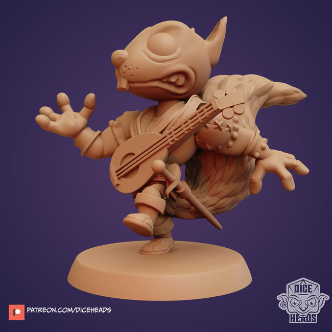 3D Printed Miniature - Reed The Rascal (Squirrel Bard) - Dungeons & Dragons - Zoontalis KS