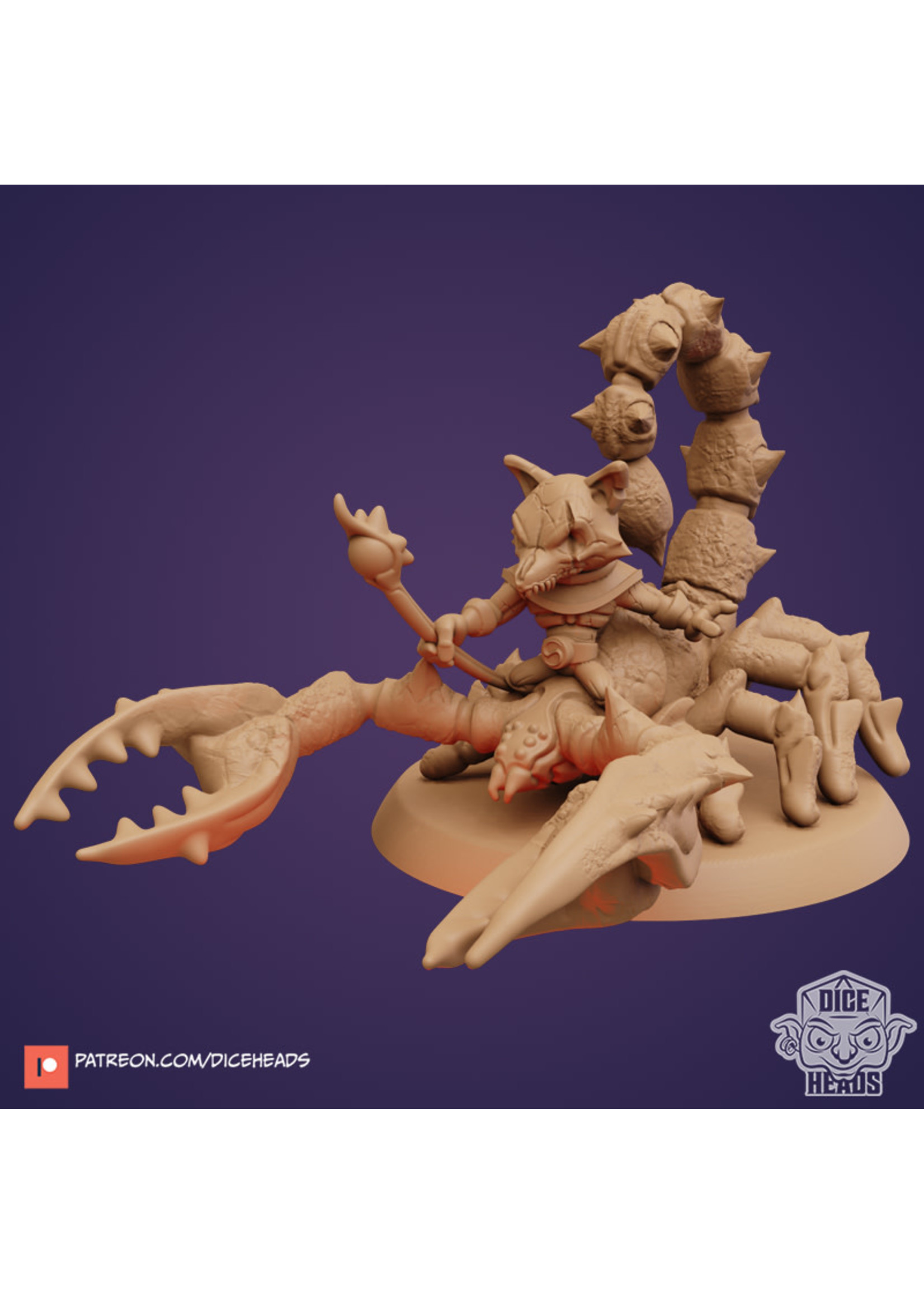 3D Printed Miniature - Scorpion with Kitsune Rider - Dungeons & Dragons - Zoontalis KS