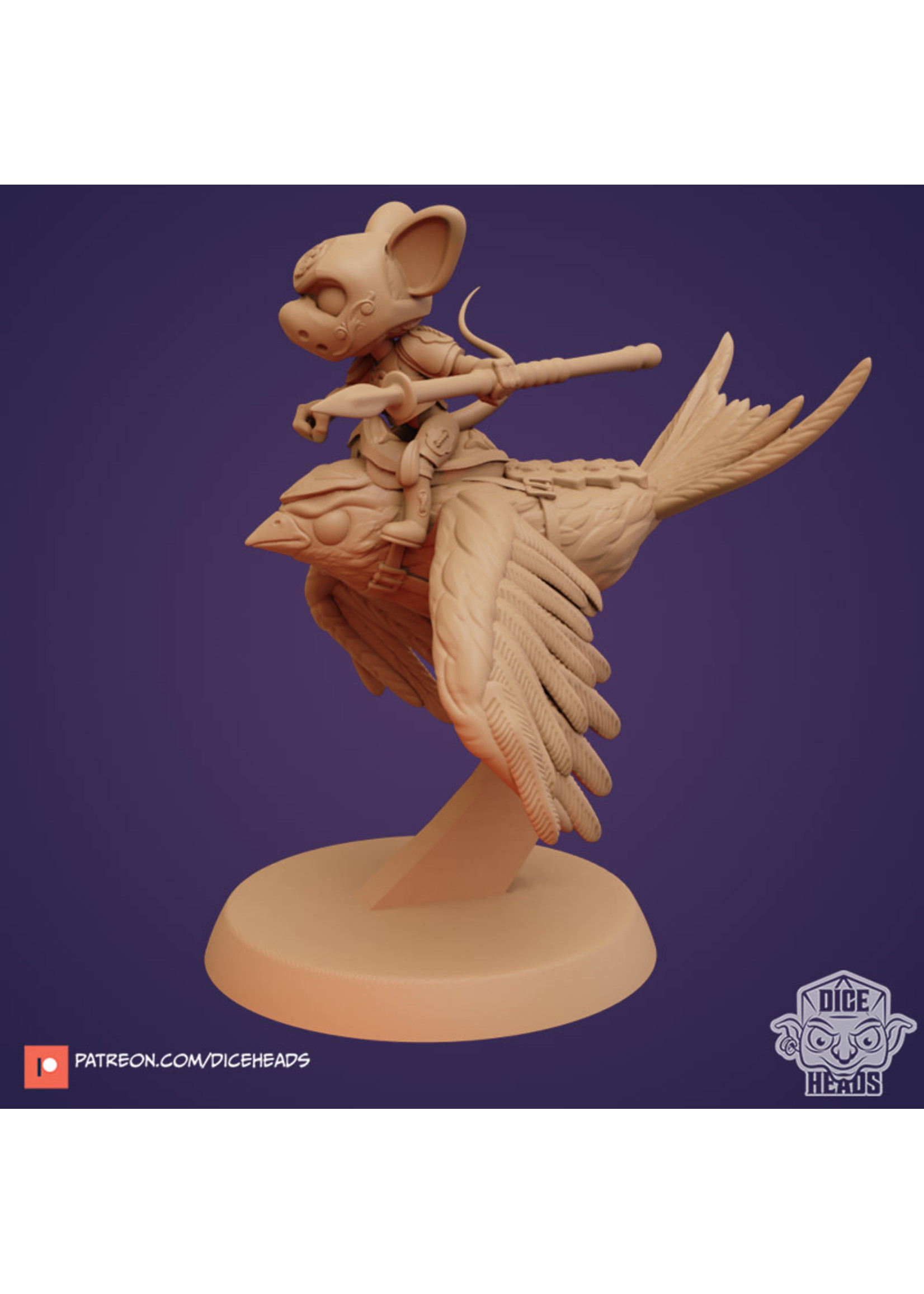 3D Printed Miniature - Swallow with Mouse Rider - Dungeons & Dragons - Zoontalis KS