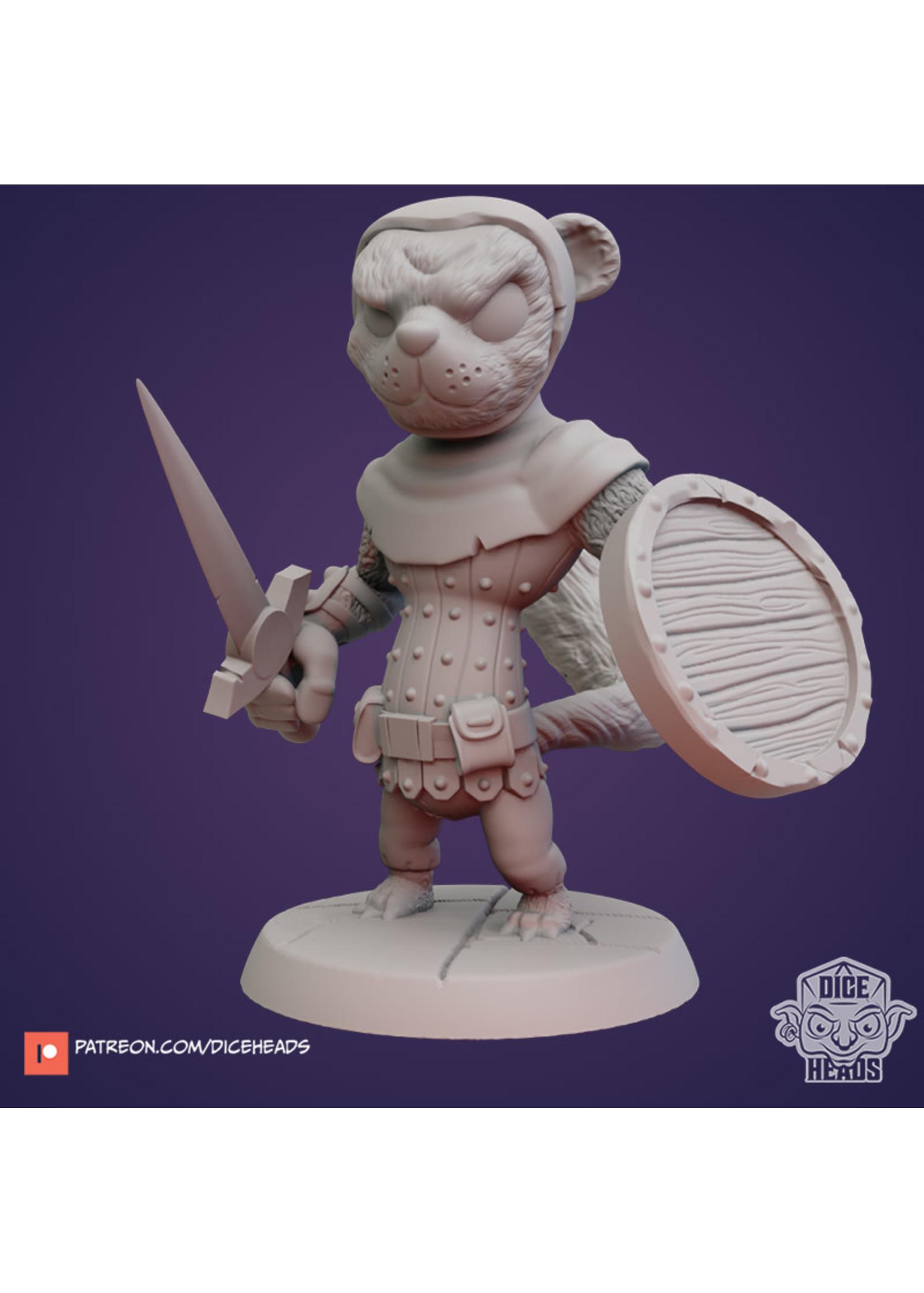 3D Printed Miniature - Weasel Bandit - Dungeons & Dragons - Zoontalis KS
