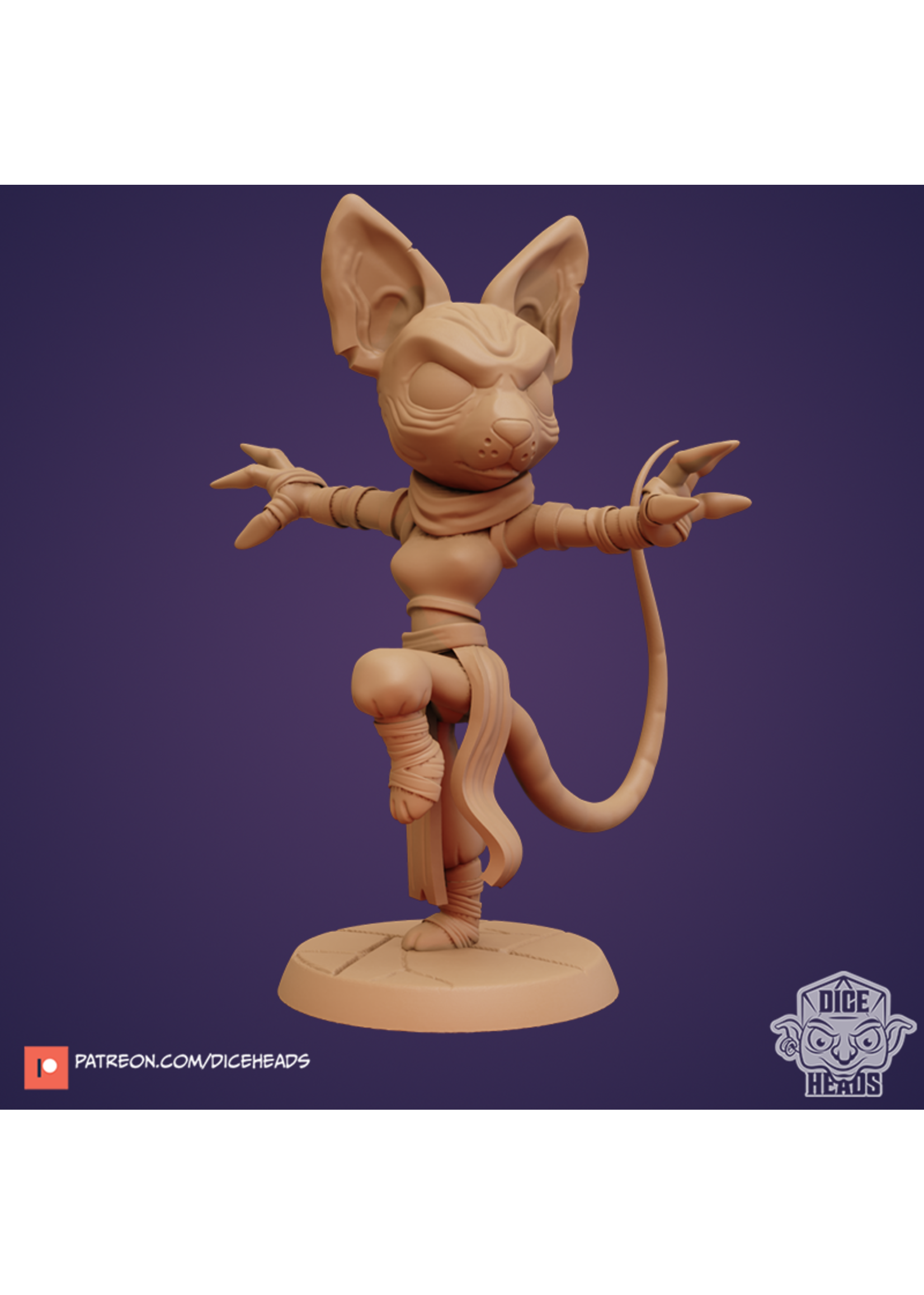 3D Printed Miniature - Sphynx Cat Monk - Dungeons & Dragons - Zoontalis KS