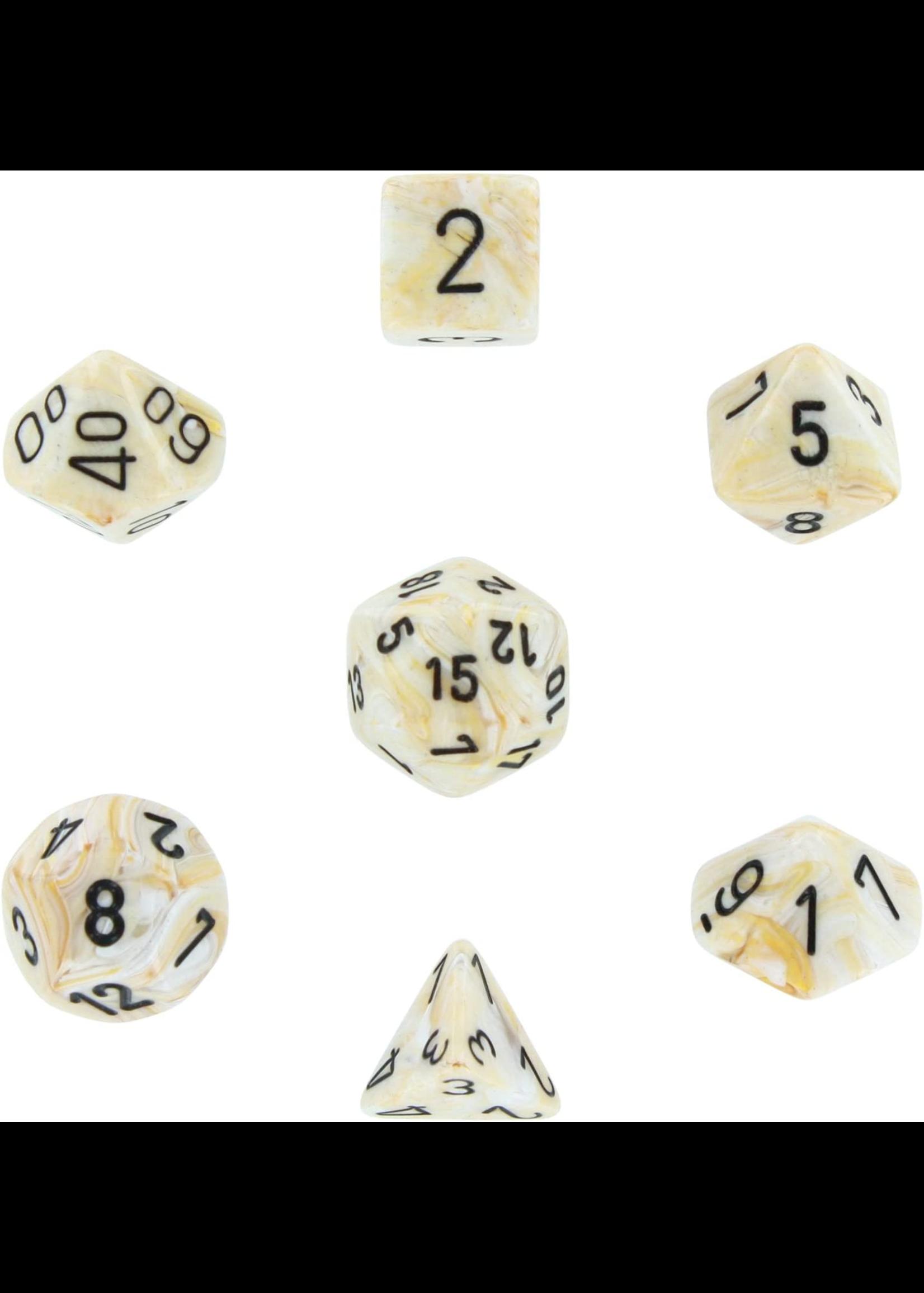 Gemini Polyhedral 7-Die Sets - Marble Ivory w/black