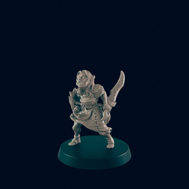 3D Printed Miniature - Orc Female  - Dungeons & Dragons - Beasts and Baddies