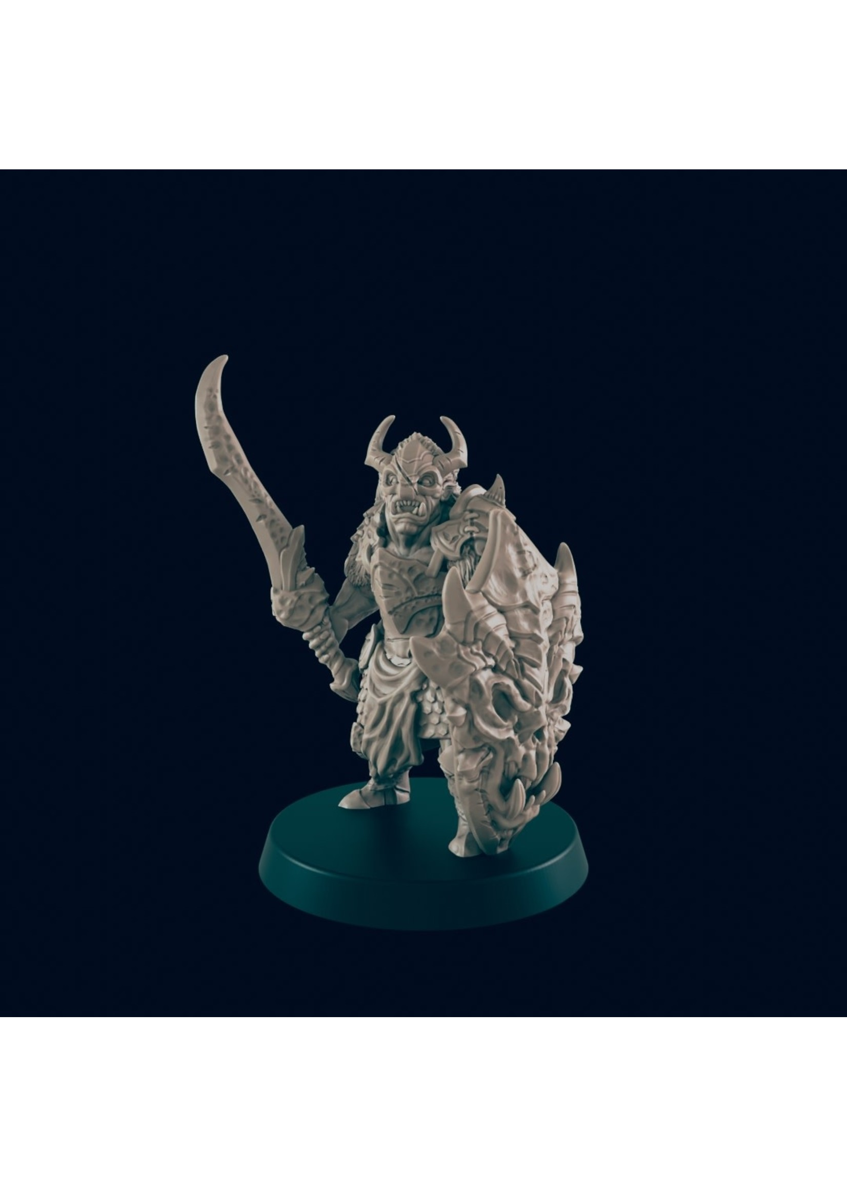 3D Printed Miniature - Orc Chieftain  - Dungeons & Dragons - Beasts and Baddies