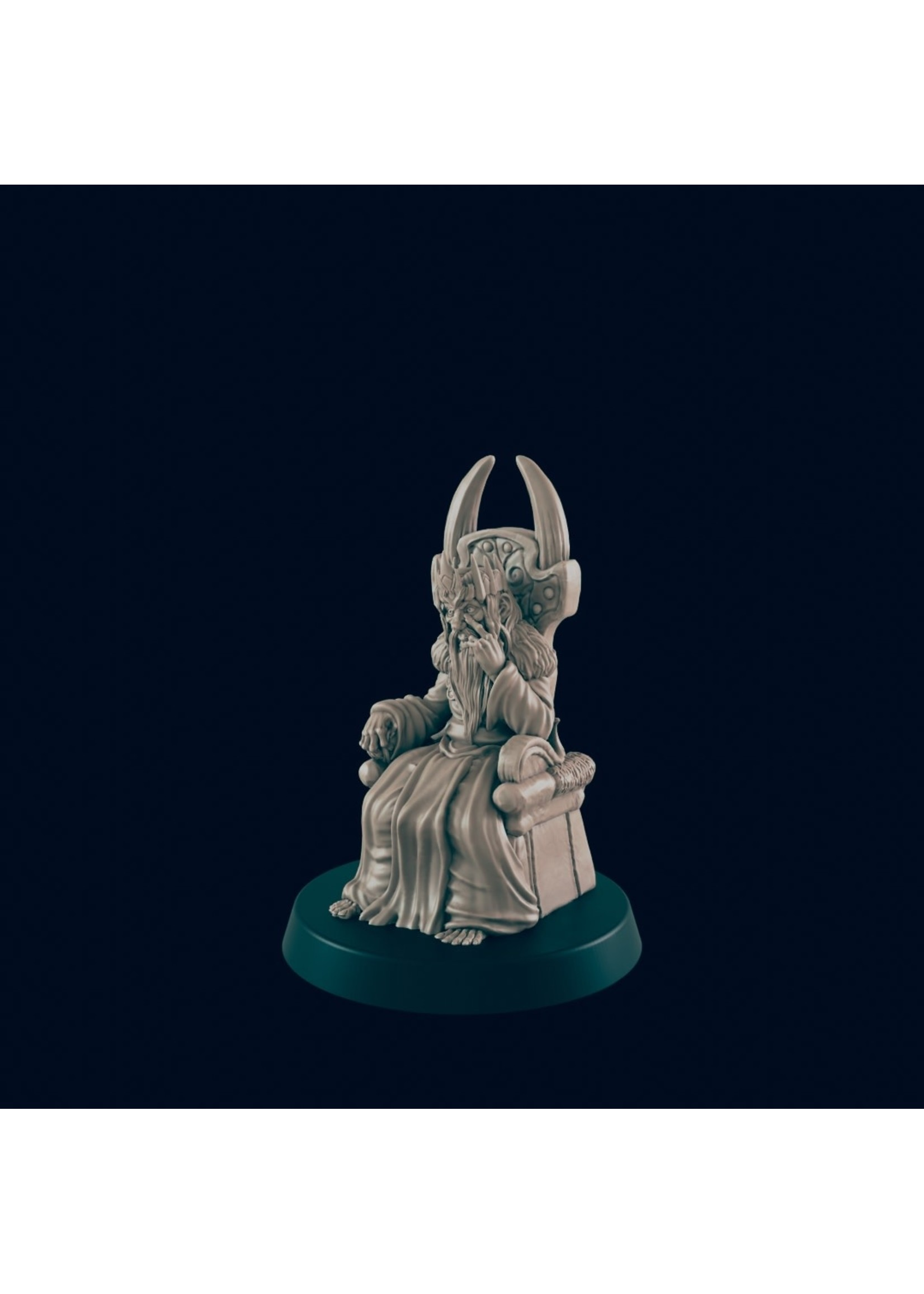3D Printed Miniature - Mad King in Throne  - Dungeons & Dragons - Beasts and Baddies