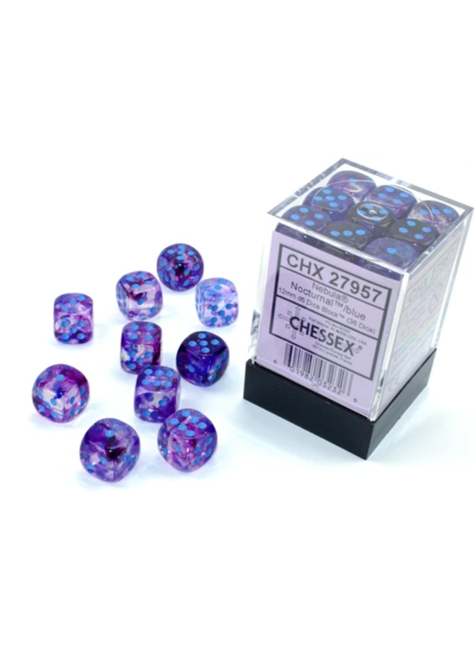 Chessex 12mm d6 Blocks - Nebula TM 12mm d6 Nocturnal/blue Luminary Dice Block™ (36 dice)